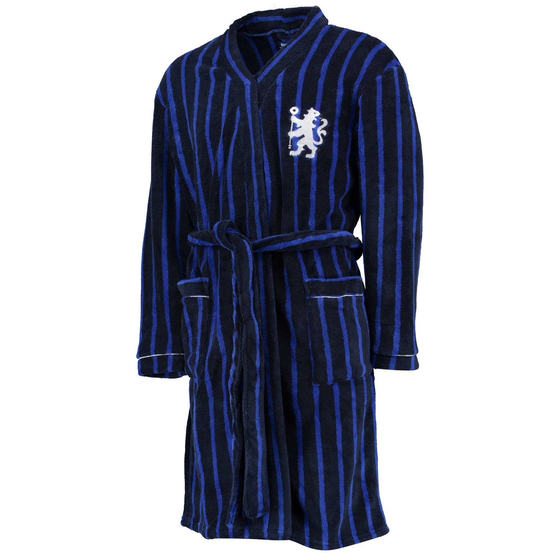 Chelsea Striped Robe - Navy - Mens   Shawl collar. Embroidered lion logo. White piping on cuffs and pockets. All over printed vertical stripes. Supersoft Fleece. 100% Polyester. Machine washable.