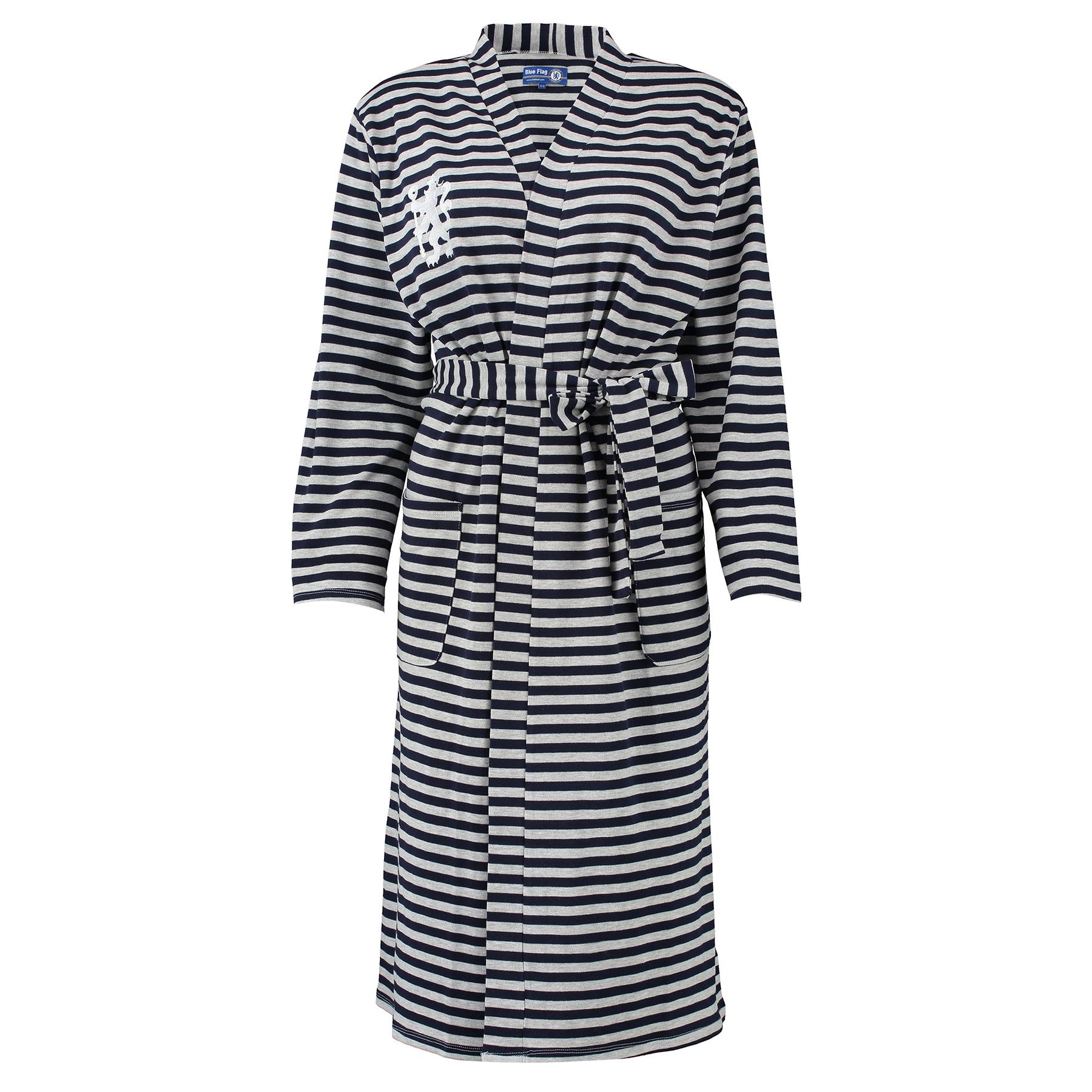 Chelsea Chelsea Striped Robe - Navy/Grey Marl - Womens