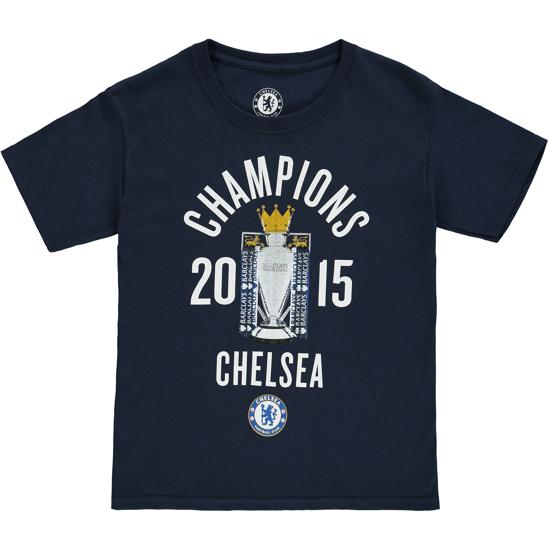 Chelsea 2014/15 Barclays Premier League Champions T-Shirt - Navy - Boys   Flat print featuring - club crest, Champions 2015 and The Official Barclays Premier League Trophy. 100% Cotton. Machine washable.