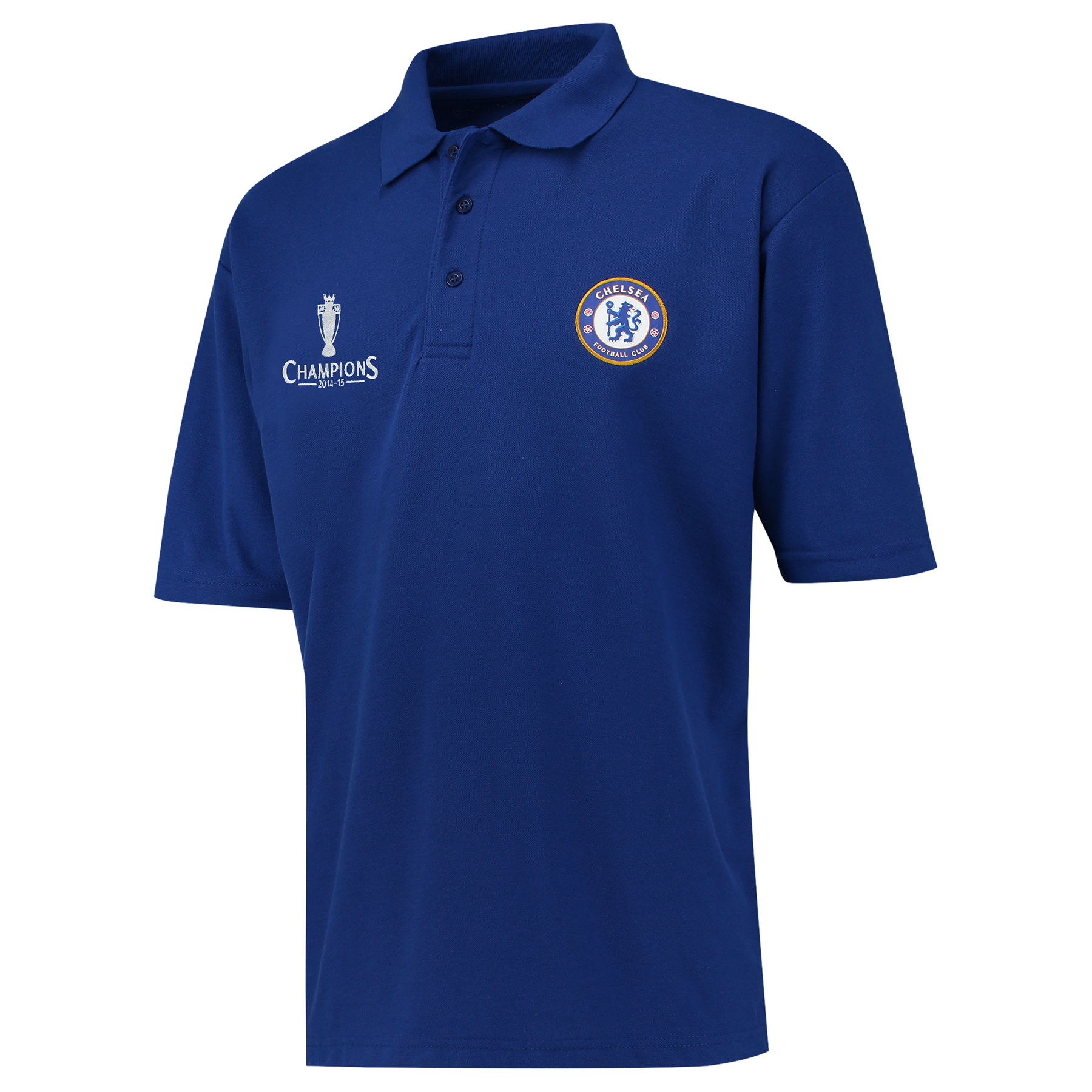 Chelsea 2014/15 Barclays Premier League Champions Polo Shirt - Royal - Mens   Woven club crest badge. Official Barclays Premier League embroidery. 50% Polyester 50% Cotton. Machine washable.