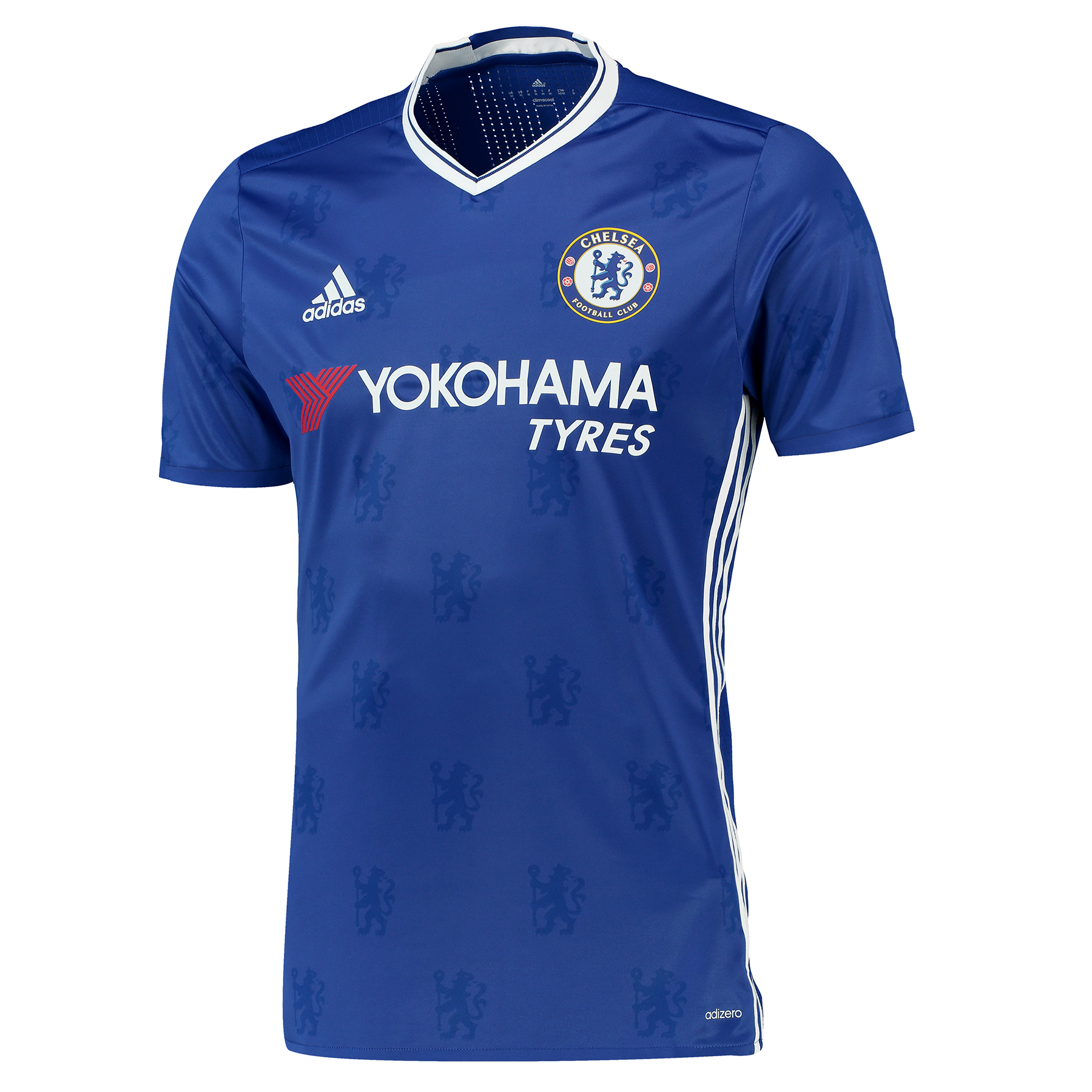 Chelsea Home adizero Shirt 2016-17   Experience 100% authenticity with the official Chelsea Home adizero Shirt 2016-17.   This authentic Chelsea 2016-17 adizero home shirt is identical to the cutting edge, athletic fit jersey worn by the Blues' first team in their Premier League fixtures at Stamford Bridge, with 100% polyester interlock composition providing enhanced ease of movement in comfort.   Made with advanced adizero fabric designed for top-level athletes, this high-end game jersey benefits from the latest in adidas matchwear technology, with its unrivalled texture and tactility providing the same accurate touch and feel enjoyed by players on English football's grandest stage.   With premium features including an engineered back panel for superior ventilation, heat transferred lightweight chest elements to eliminate unnecessary weight and a lightweight replication of the famous Chelsea Football Club crest, every fibre of this special jersey is designed with professional performance in mind, with the end experience unparalleled for pros and supporters alike.   Inspired by tradition and shaped by legacy, the latest interpretation of the Chelsea colours restores a classic Stamford Bridge image, with its vintage v-collar drawing allusion to Lions sides of yesteryear.   With the Chelsea crest's central lion motif forming the basis of a unique, all-over pattern print, the jersey's adidas Three Stripe branding is meanwhile featured in a contemporary side placement, completing a winning mix of old and new ready for the Blues' renewed title challenge.   Benefits:   Authentic athletic fit jersey Advanced adizero technology Highly-breathable fabric Breathable mesh linings Mesh ventilation inserts Heat transferred chest Engineered back panel Lightweight club crest V-collar and short sleeves All-over lion print design 3 Stripe tape elements 100% polyester interlock