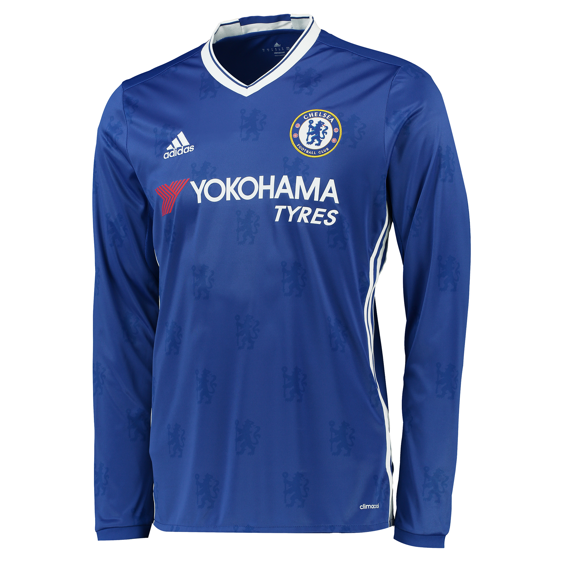 Chelsea Home Shirt 2016-17 - Long Sleeve   Inspired by tradition and shaped by legacy, the official Chelsea Home Shirt 2016-17 - Long Sleeve restores a classic Stamford Bridge image, with its vintage v-collar drawing allusion to Chelsea sides of yesteryear.   With the club crest's central lion motif forming the basis of a unique, all-over pattern print, the 2016-17 long-sleeved Chelsea home jersey's adidas Three Stripe branding features in a contemporary side placement, completing a winning mix of old and new for the Blues' renewed title challenge.   Benefits:   Climacool® heat and moisture management Printed fabric Club crest: woven badge Engineered Chelsea FC sign off on collar 100% recycled polyester
