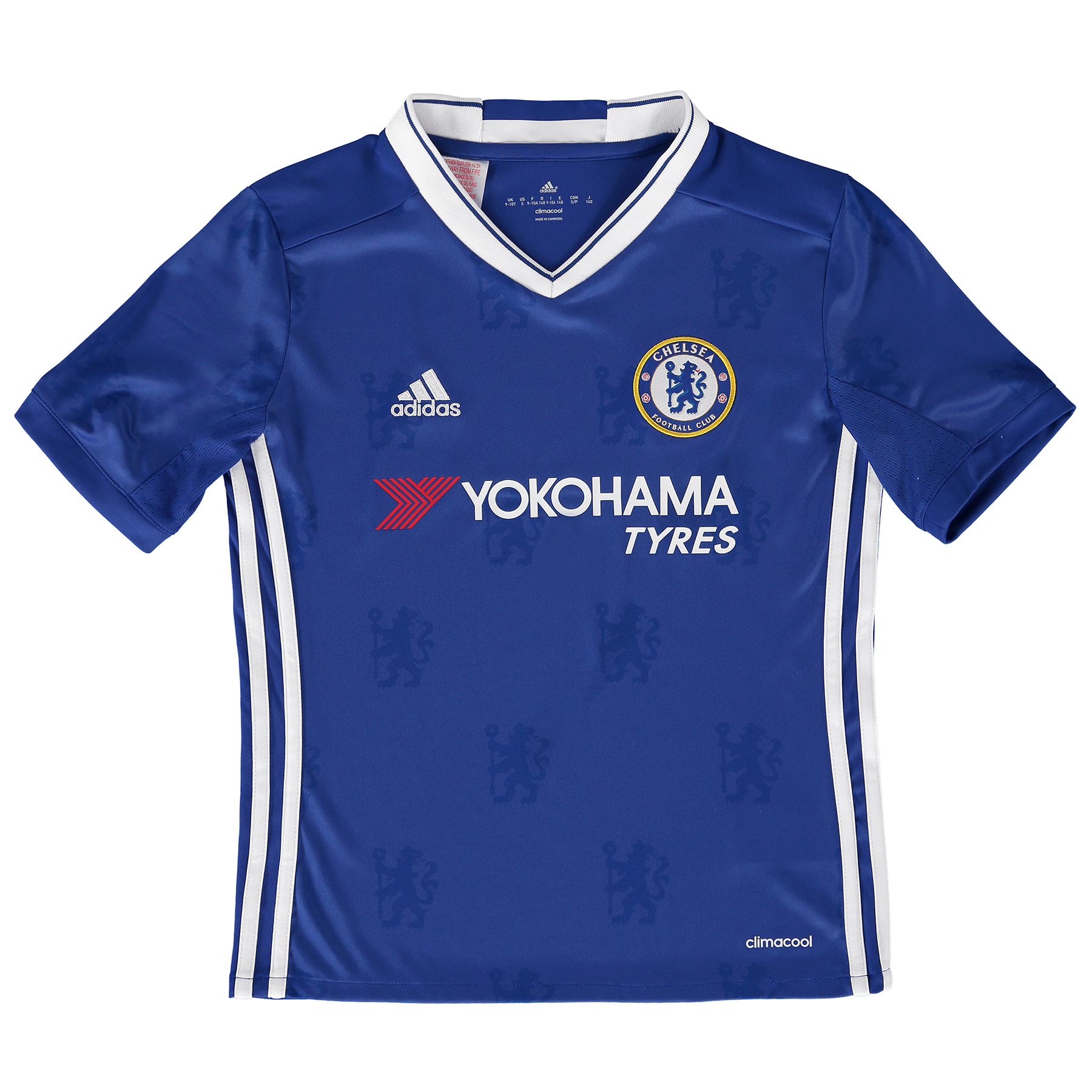 Chelsea Home Shirt 2016-17 - Kids   Inspired by tradition and shaped by legacy, the official Chelsea Home Shirt 2016-17 - Kids restores a classic Stamford Bridge image, with its vintage v-collar drawing allusion to Chelsea sides of yesteryear.   With the club crest's central lion motif forming the basis of a unique, all-over pattern print, the 2016-17 Chelsea kids' home jersey's Three Stripe branding features in a contemporary side placement, completing a winning mix of old and new for the Blues' renewed title challenge.   Benefits:   Climacool® heat and moisture management Printed fabric Club crest: woven badge Engineered Chelsea FC sign off on collar 100% recycled polyester
