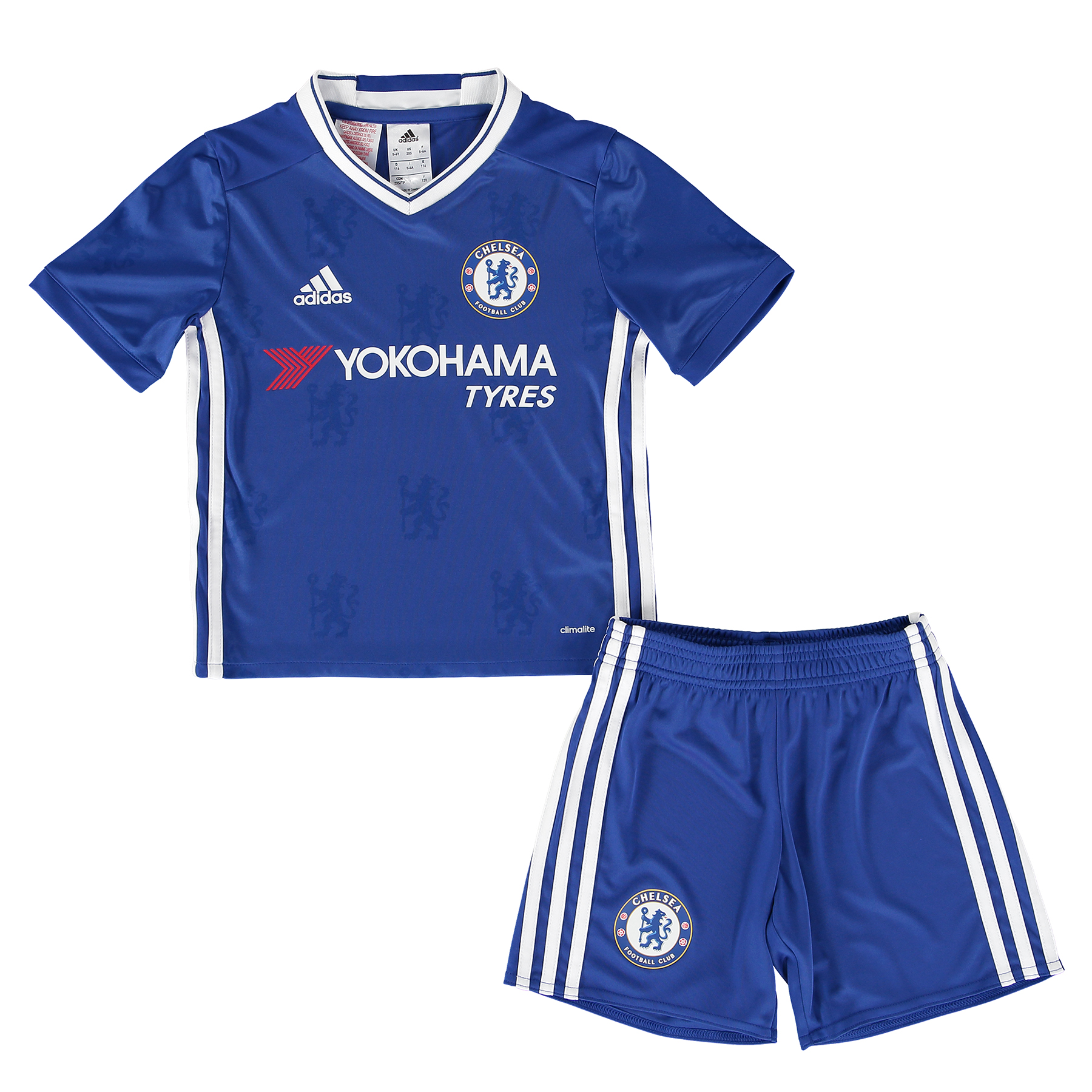 Chelsea Home Mini Kit 2016-17   Inspired by tradition and shaped by legacy, the official Chelsea Home Mini Kit 2016-17 restores a classic Stamford Bridge image, with its vintage v-collar design drawing allusion to years gone by.   With the club crest's central lion motif forming the basis of a unique, all-over pattern print, the 2016-17 Chelsea home mini kit's Three Stripe branding features in a contemporary side placement, completing a winning mix of old and new for the Blues' renewed title challenge.   Specially-designed for younger supporters, this mini kit uses soft and lightweight climalite® fabric technology to provide superior moisture management.   Benefits:   Printed fabric Club crest: heat transfer climalite® soft, lightweight fabric Engineered Chelsea FC sign off on collar 100% recycled polyester
