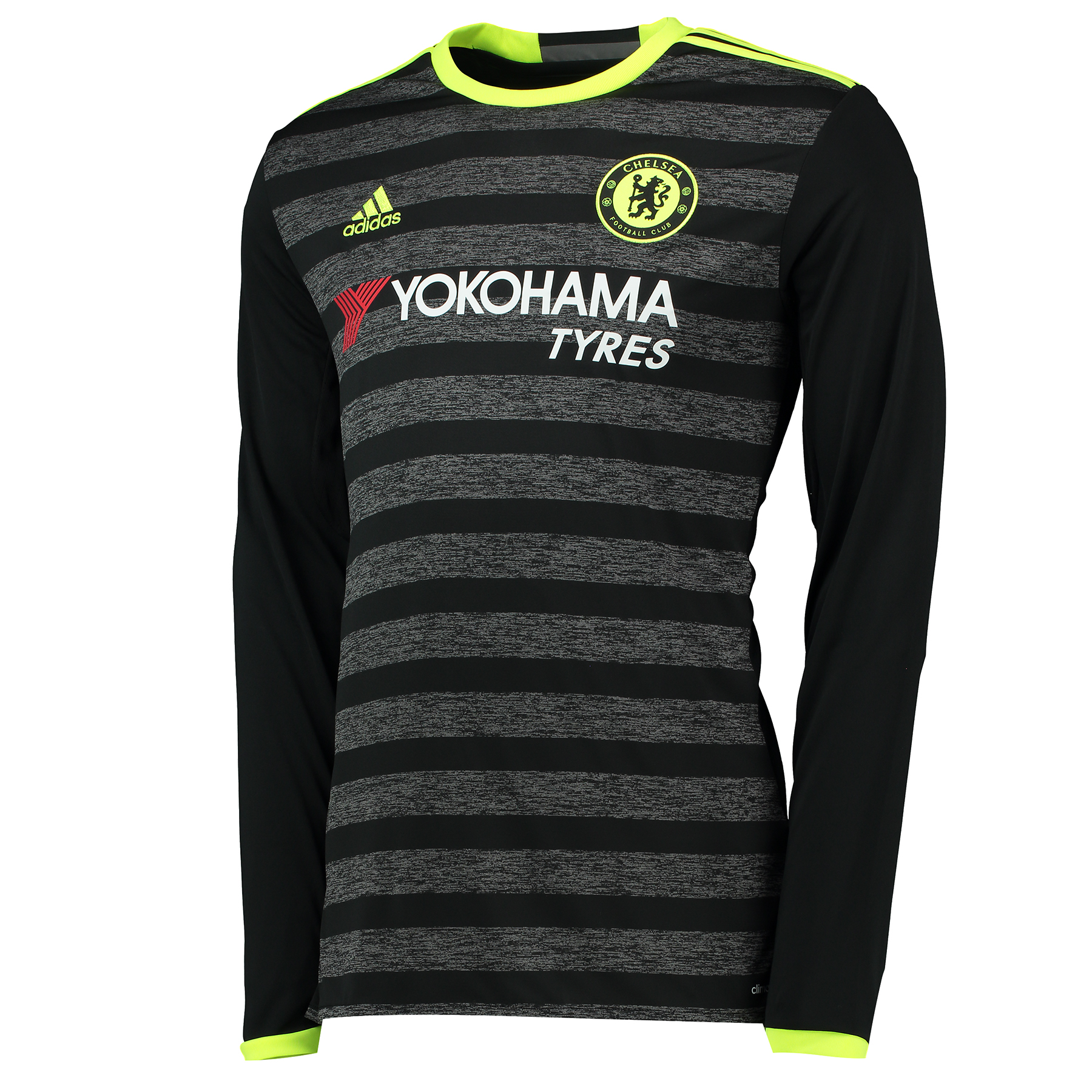 Chelsea Away Shirt 16-17 - Long Sleeve   Embrace an exciting fresh chapter in Chelsea Football Club's colourful history with the Chelsea Away Shirt 16-17 - Long Sleeve.   This official, long sleeve Chelsea change shirt is marked by slim black and moderately thicker grey frontal hoops; the latter of which presenting a cotton-style image that appears to visually possess a television static effect.   Providing this cutting-edge jersey with high-impact contrast, the collar, sleeve trim and shoulder 3 Stripes are all enhanced by solar yellow accents, with the same colour continued through the brand motif, club crest and CHELSEA FC back neck wording.   Features: • Crewneck collar • climacool® technology • Mesh ventilation inserts • Mélange fabric • Woven badge on left chest • Chelsea FC sign off on collar • Part of sustainable product program • 100% recycled polyester interlock
