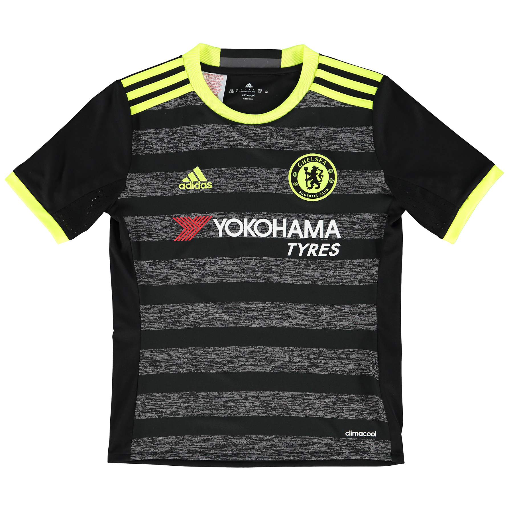 Chelsea Away Shirt 16-17 - Kids   Embrace an exciting fresh chapter in Chelsea Football Club's colourful history with the Chelsea Away Shirt 16-17 - Kids.   This official Chelsea kids' change shirt is marked by slim black and moderately thicker grey frontal hoops; the latter of which presenting a cotton-style image that appears to visually possess a television static effect.   Providing this cutting-edge jersey with high-impact contrast, the collar, sleeve trim and shoulder 3 Stripes are all enhanced by solar yellow accents, with the same colour continued through the brand motif, club crest and CHELSEA FC back neck wording.   Features: • Crewneck collar • climacool® technology • Mesh ventilation inserts • Mélange fabric • Woven badge on left chest • Chelsea FC sign off on collar • Part of sustainable product program • 100% recycled polyester interloc