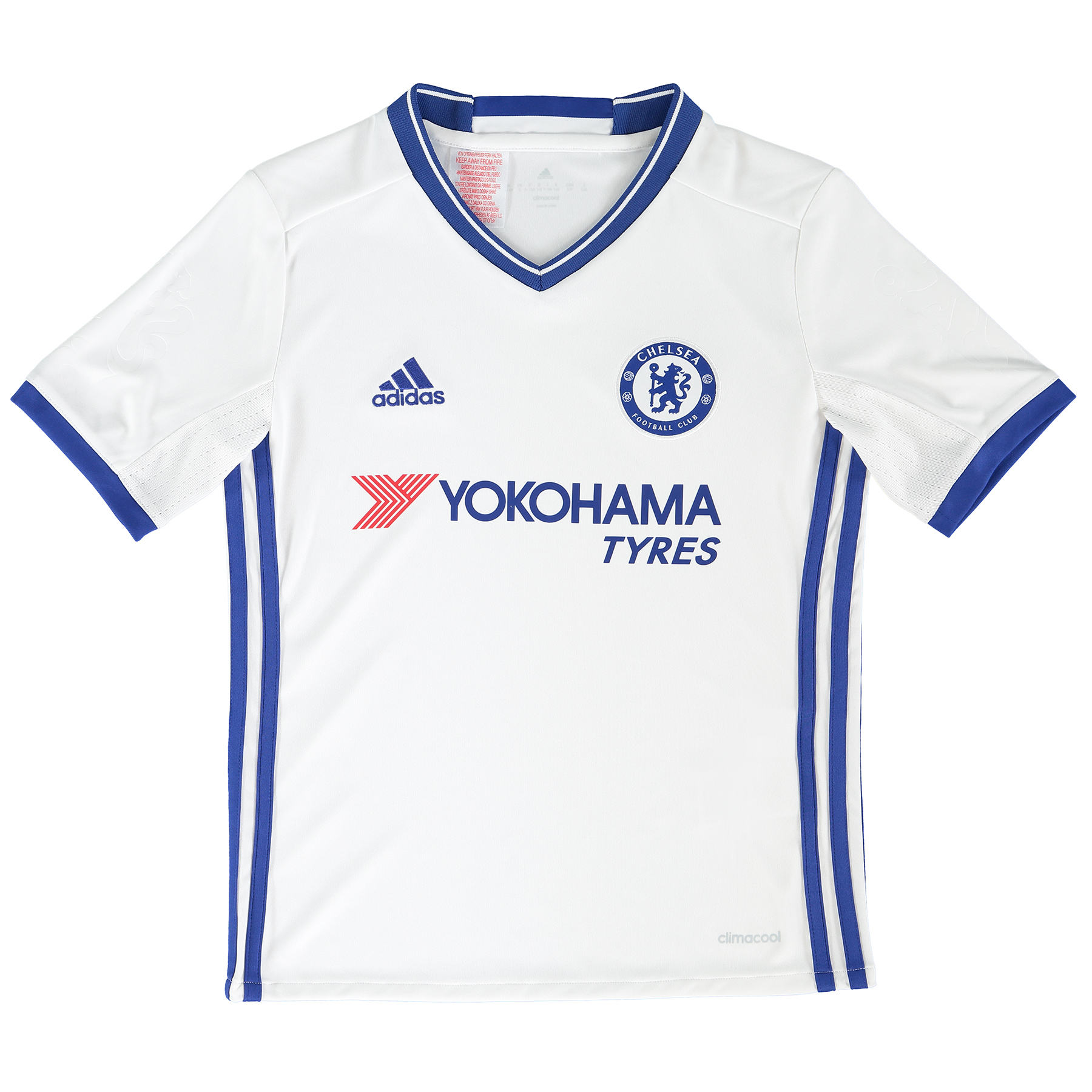 Chelsea Third Shirt 16-17 - Kids   The Chelsea Third Shirt 16-17 - Kids represents a classic colour reversal, with the Lions' usage of white as an alternate shirt option stemming back as far as 1905.   The blue collar and trim is particularly reminiscent of the Chelsea third shirt first introduced in 1958-59, as home-grown forward Jimmy Greaves netted 32 times in 42 starts to become the English top flight's leading goalscorer.    Greaves would surpass the feat two years later, racking up a ratio of more than a goal per game and setting the all-time benchmark for Chelsea strikers to aspire to, as the club's white and blue design endured as an away kit.   Now, these colours return to the Chelsea locker, as Antonio Conte's team attempt to reclaim their Premier League crown in matches across the country.   Details:   Regular fit Ribbed V-neck Embossed fabric  climalite® technology Mesh inserts in sleeves 'CHELSEA FC' wording on back collar Chelsea FC woven club crest on left chest Embossed Chelsea lion emblem on sleeve adidas brandmark on right chest adidas 3 Stripe branding on sides Part of sustainable product program 100% recycled polyester interlock