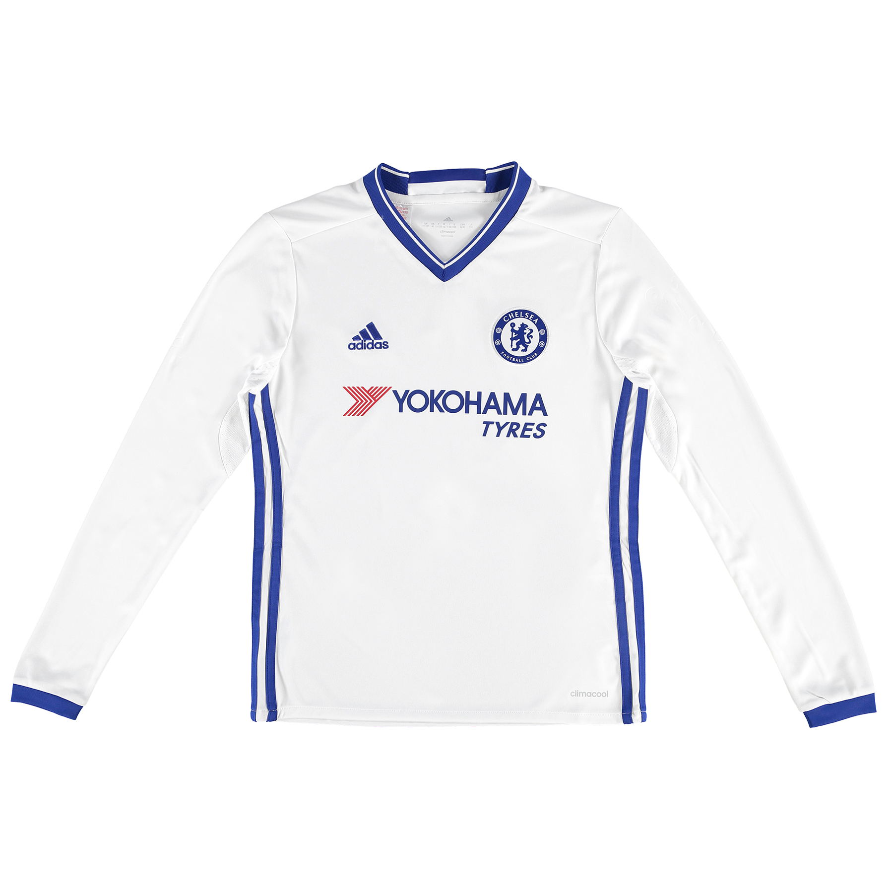Chelsea Third Shirt 16-17 - Kids - Long Sleeve   The Chelsea Third Shirt 16-17 - Kids - Long Sleeve represents a classic colour reversal, with the Lions' usage of white as an alternate shirt option stemming back as far as 1905.   The blue collar and trim is particularly reminiscent of the Chelsea third shirt first introduced in 1958-59, as home-grown forward Jimmy Greaves netted 32 times in 42 starts to become the English top flight's leading goalscorer.    Greaves would surpass the feat two years later, racking up a ratio of more than a goal per game and setting the all-time benchmark for Chelsea strikers to aspire to, as the club's white and blue design endured as an away kit.   Now, these colours return to the Chelsea locker, as Antonio Conte's team attempt to reclaim their Premier League crown in matches across the country.   Details:   Long sleeve Embossed fabric Club crest: woven badge Embroidered lion on sleeve Engineered Chelsea FC sign-off on collar 100% recycled polyester