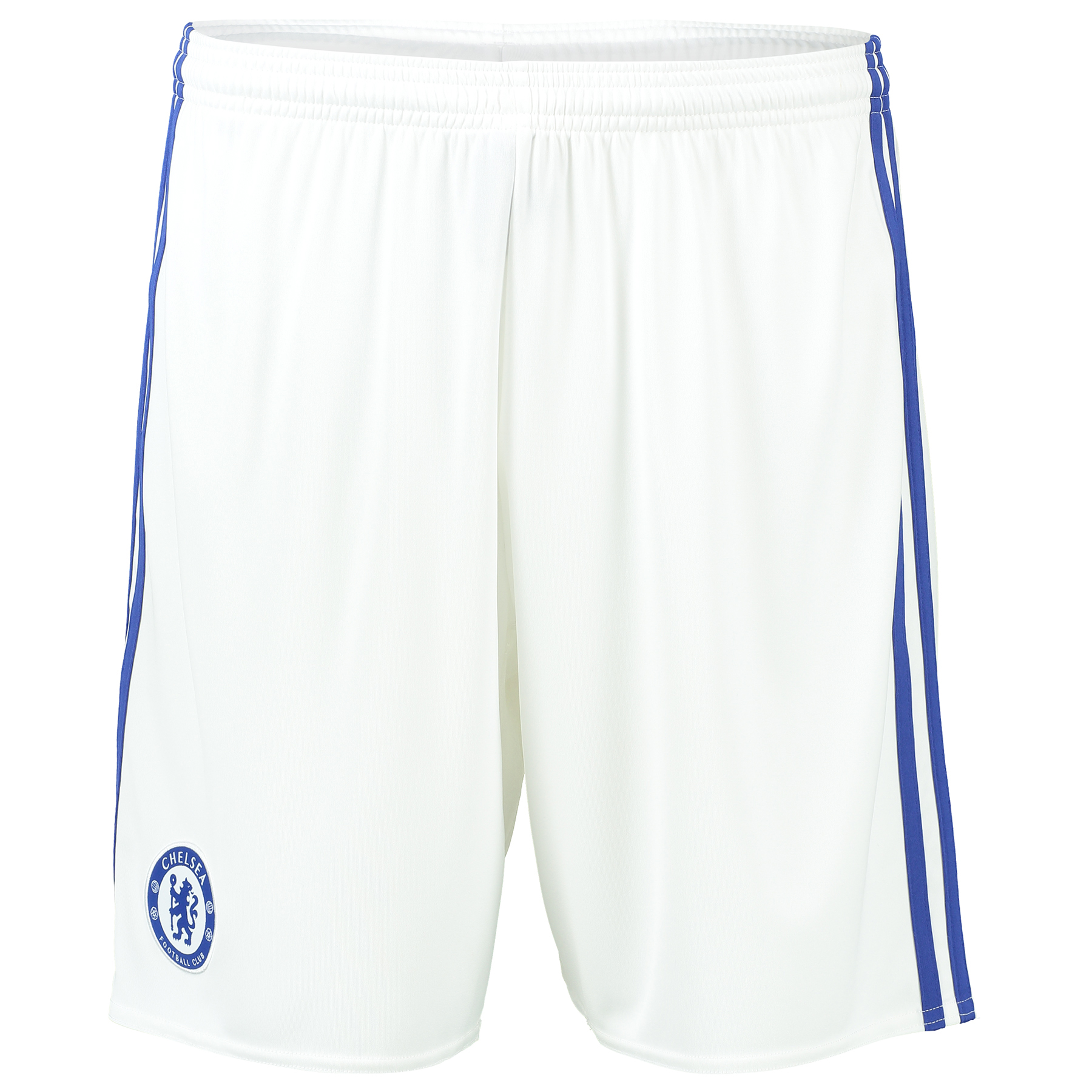 Chelsea Third Shorts 16-17   Enhance your professional matchday image with the Chelsea Third Shorts 2016-17, official kit to accompany the pride of London's newest third jersey.   With the club crest featured in woven form, these 2016-17 Chelsea third shorts reap the benefits of advanced climacool® heat and moisture management technology, ensuring a cool and comfortable experience for fans seeking to replicate their Stamford Bridge heroes.   Details:   Regular fit Ventilated climacool®  19 cm inseam (size 50) Drawcord on elastic waist Mesh inserts on inner legs Part of sustainable product program Chelsea FC woven club crest on right leg adidas brandmark screen-printed on back left leg adidas 3 Stripe branding on sides 100% recycled polyester interlock