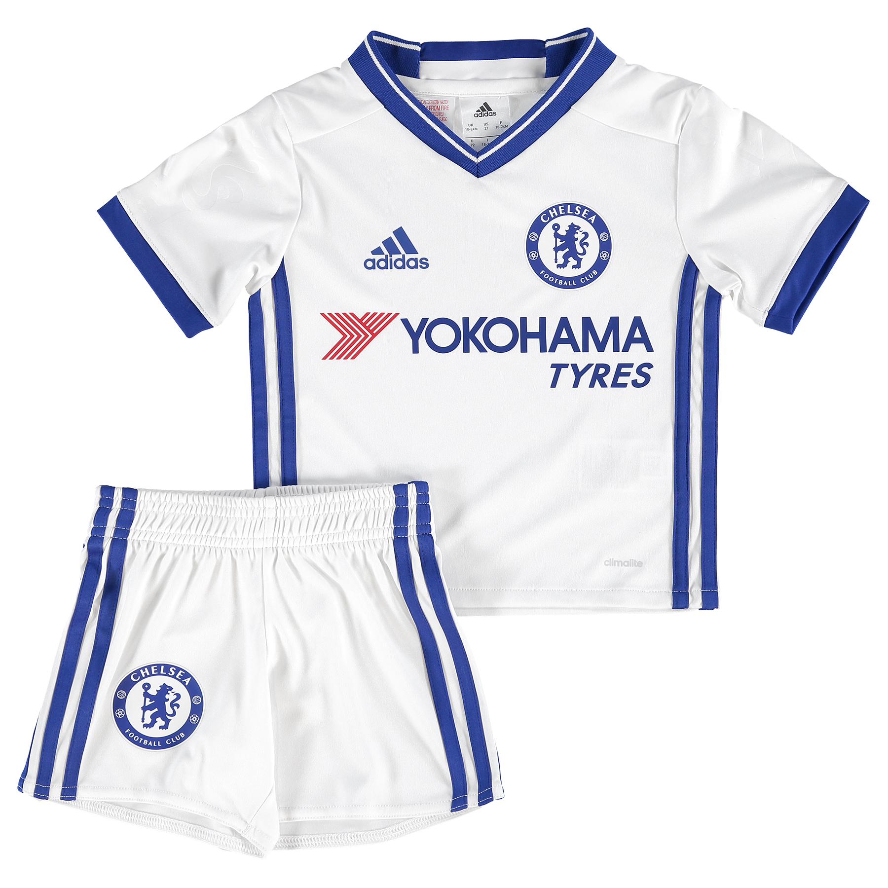 Chelsea Third Mini Kit 16-17   Perfect for any junior Blue, the official Chelsea Third Mini Kit 16-17 helps younger fans in the family take on the professional matchday image of a Premier League star.   With climacool® technology helping them stay cool and comfortable, this special set is comprised of both jersey and shorts; each in the striking style of the Chelsea alternate third kit.   Details:   Regular fit V-neck jersey 13.5 cm inseam climalite® fabric  'CHELSEA FC' on back collar panel Chelsea FC heat-transfer crest on left chest Embossed Chelsea FC lion emblem on sleeve Elastic waist shorts Chelsea FC heat-transfer crest on right leg Embossed fabric Club crest: heat transfer Engineered Chelsea FC sign off on collar Part of sustainable product program 100% recycled polyester interlock