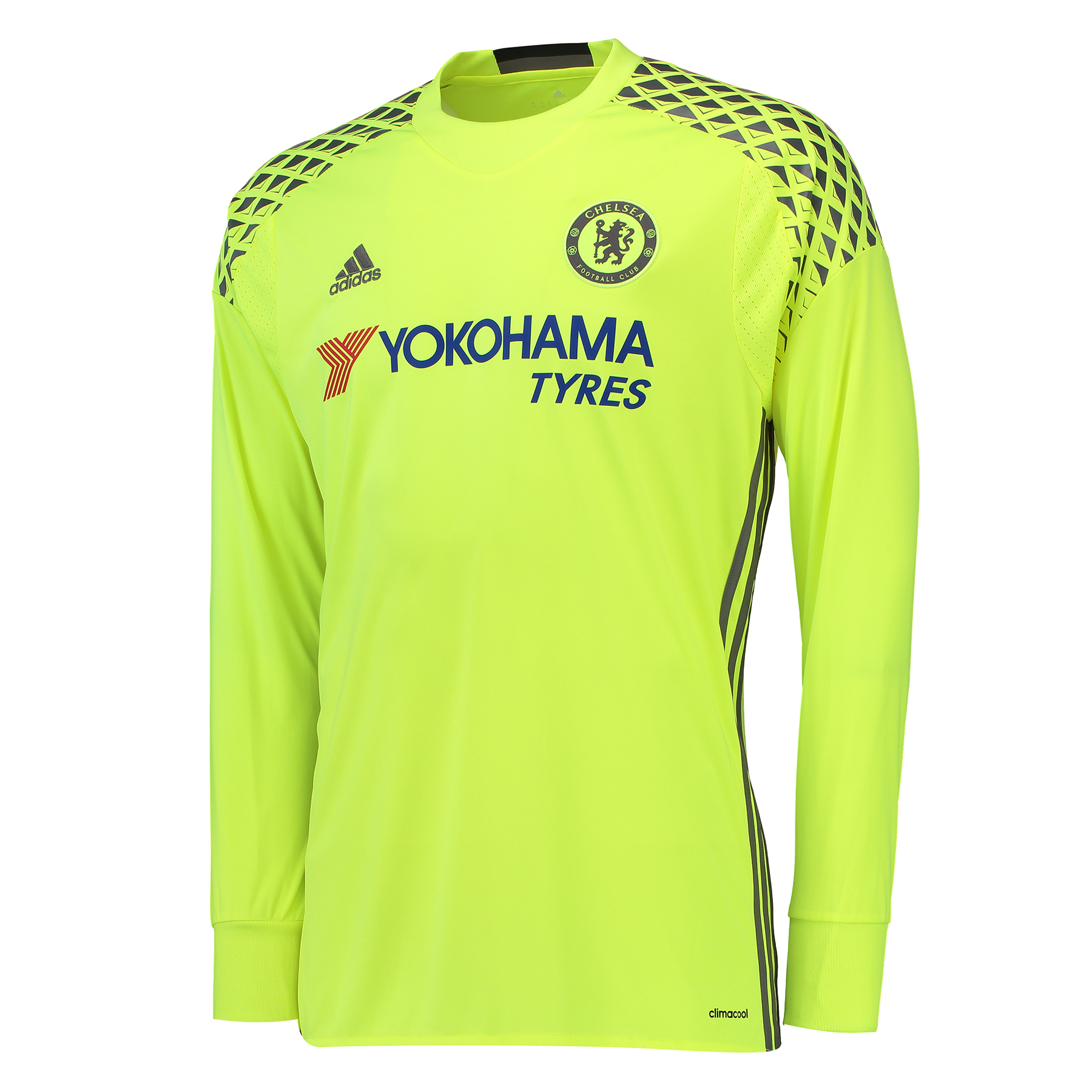 Chelsea Goalkeeper Shirt 16-17   Like any great goalkeeper of the modern era, the new Chelsea Goalkeeper Shirt 16-17 is equally bold and bright, characterised by a fresh and daring solar yellow and granite palette.   However intense the goalmouth action might become, advanced Climacool® heat and moisture management will help ensure that the coolest of heads prevail, with the Stamford Bridge club proudly represented on this 2016-17 Chelsea goalkeeper's jersey by engineered collar sign-off and woven crest.   Benefits:   Climacool® heat and moisture management Club crest: woven badge Engineered Chelsea FC sign off on collar 100% recycled polyester
