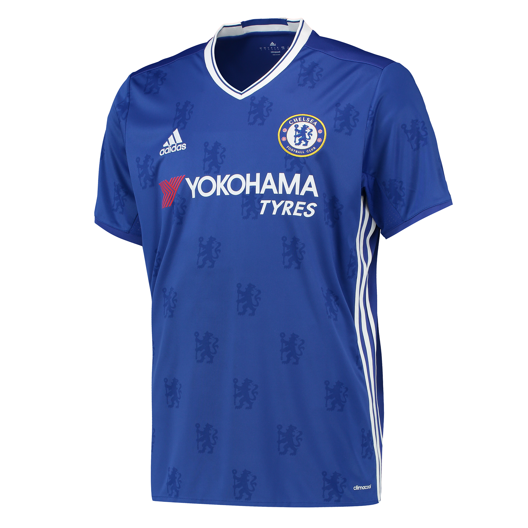 Chelsea Home Shirt 2016-17   Inspired by tradition and shaped by legacy, the official Chelsea Home Shirt 2016-17 restores a classic Stamford Bridge image, with its vintage v-collar drawing allusion to Chelsea sides of yesteryear.   With the club crest's central lion motif forming the basis of a unique, all-over pattern print, the 2016-17 Chelsea home jersey's Three Stripe branding features in a contemporary side placement, completing a winning mix of old and new for the Blues' renewed title challenge.   Benefits:   Climacool® heat and moisture management Printed fabric Club crest: woven badge Engineered Chelsea FC sign off on collar 100% recycled polyester