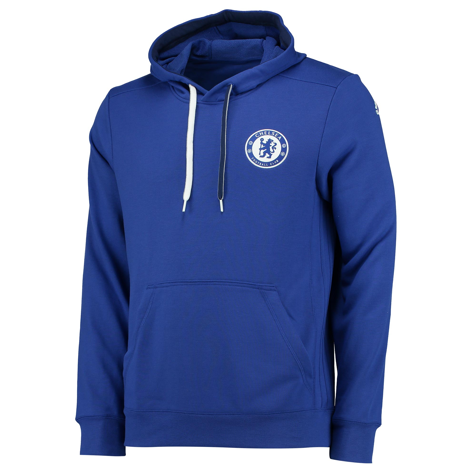Chelsea Cup Training Hooded Sweatshirt - Blue  Show support for the boys from Stamford Bridge in this Chelsea Cup Training Hooded Sweatshirt.    This official, slim fit sweatshirt with drawcord-adjustable hood carries a Chelsea FC crest on the chest, allowing true Blues to put their club pride on full display in training.   Details: • Slim fit w/kangaroo pocket • Drawcord-adjustable hood • Ribbed cuffs and hem • adidas 3 Stripe branding on sides • Chelsea FC woven club crest on left chest • Part of adidas sustainable product program • adidas brandmark screen-printed on left sleeve • 75% recycled polyester / 25% viscose French terry