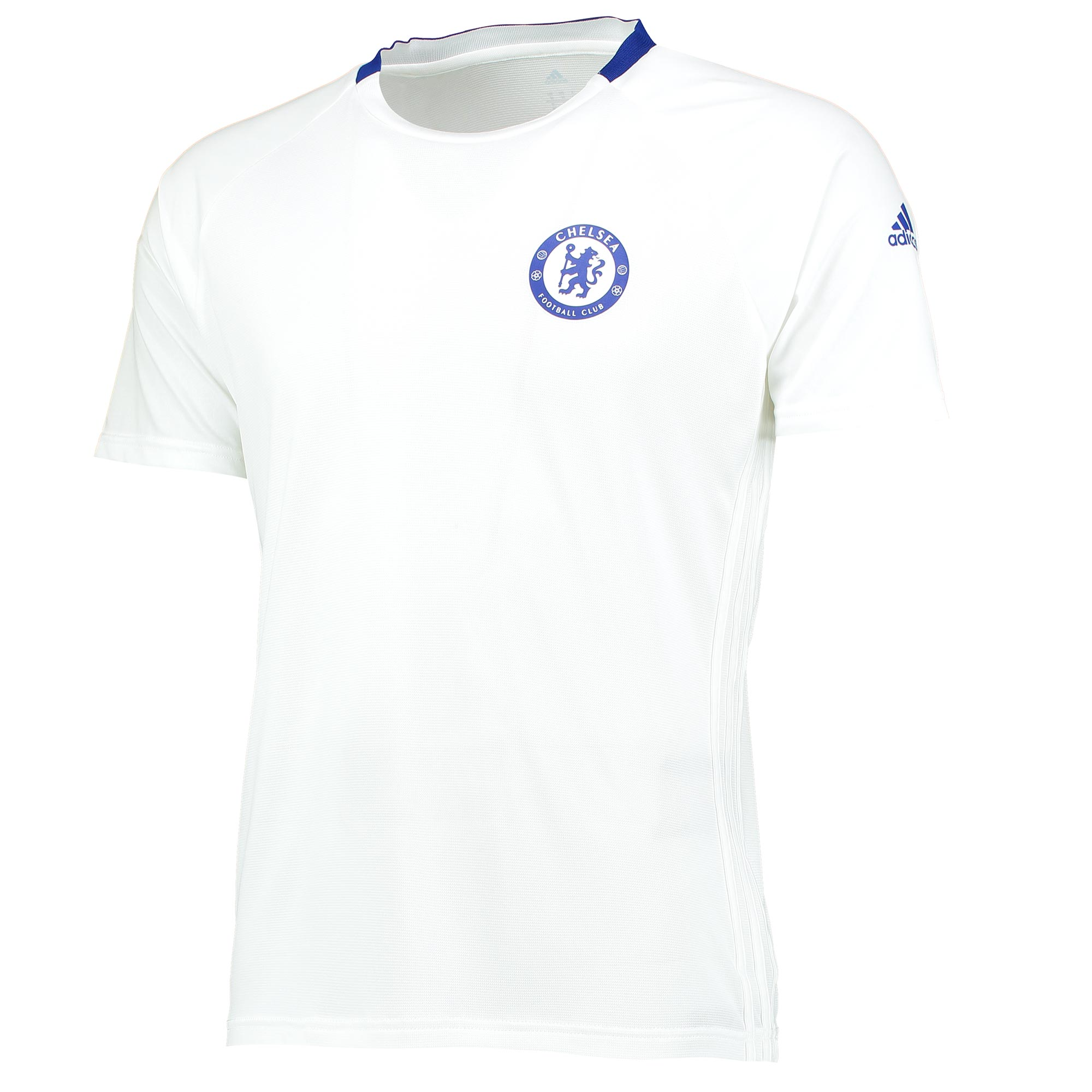 Chelsea Cup Training Jersey - White   With advanced climacool® technology helping ensure a cool and comfortable experience, this all-new Chelsea Cup Training Jersey carries the Blues' colours and crest with a champion's pride.   A crewneck jersey with flat-knit ribbed insert, this official Chelsea jersey's raglan sleeves have an all-over embossed tonal graphic, making the item an ideal addition to any fan's training collection.   Details: • Slim fit w/adidas 3 Stripes on sides • Ventilated climacool® technology • Crewneck w/contrast flat-knit ribbed insert • Raglan sleeves w/all-over embossed tonal graphic • Chelsea club crest printed on left chest • adidas brandmark printed on left sleeve • 81% polyester / 19% nylon piqué