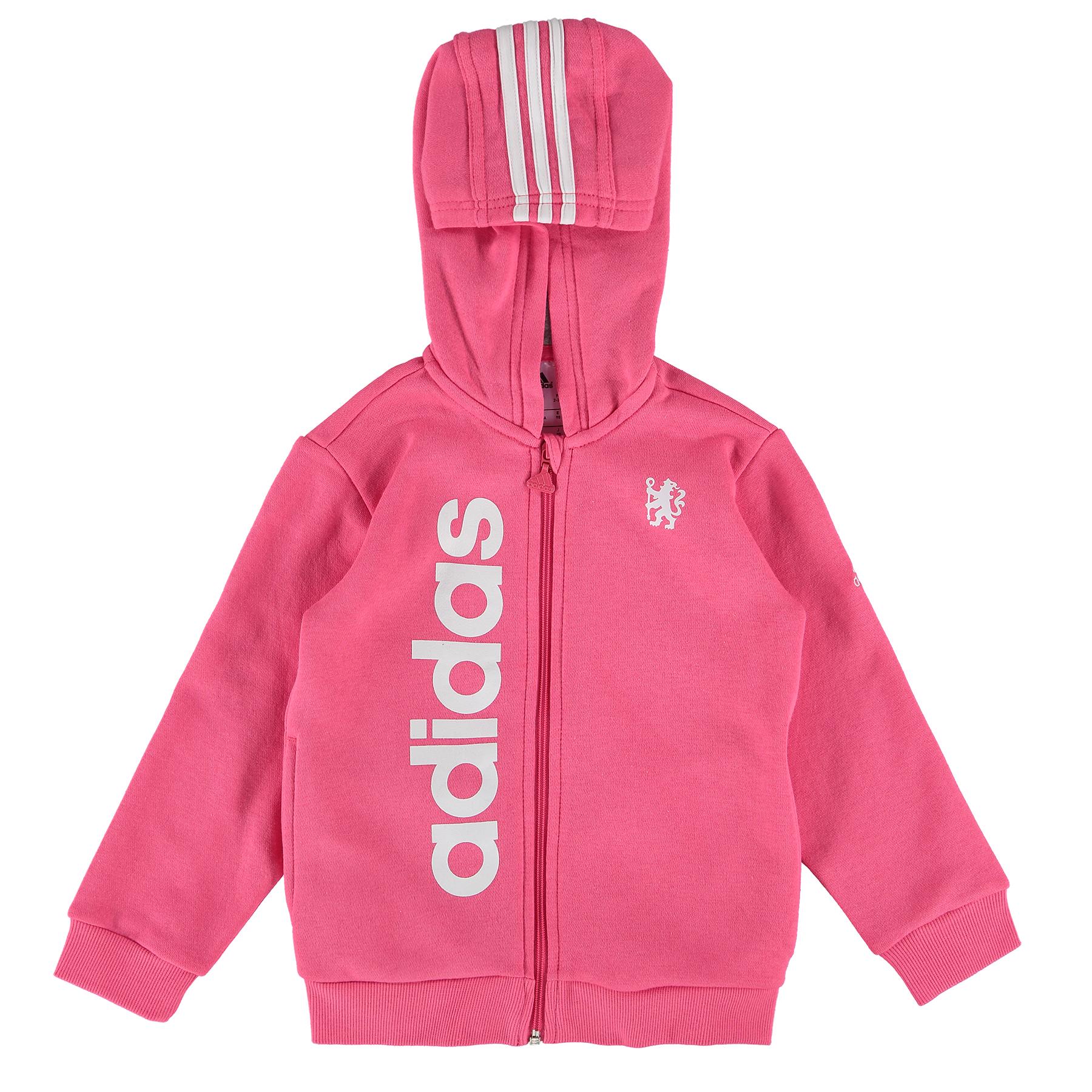 Chelsea Full Zip Hooded Baby Jogsuit - Girls - Pink-Grey
