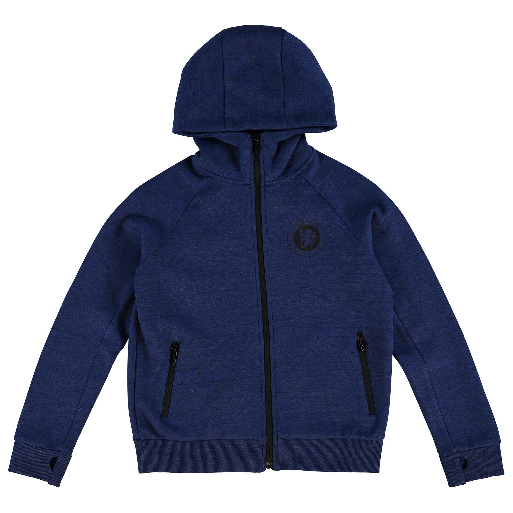 Chelsea Essential Zip Through Hoodie - Royal/Black Marl - Older Boys