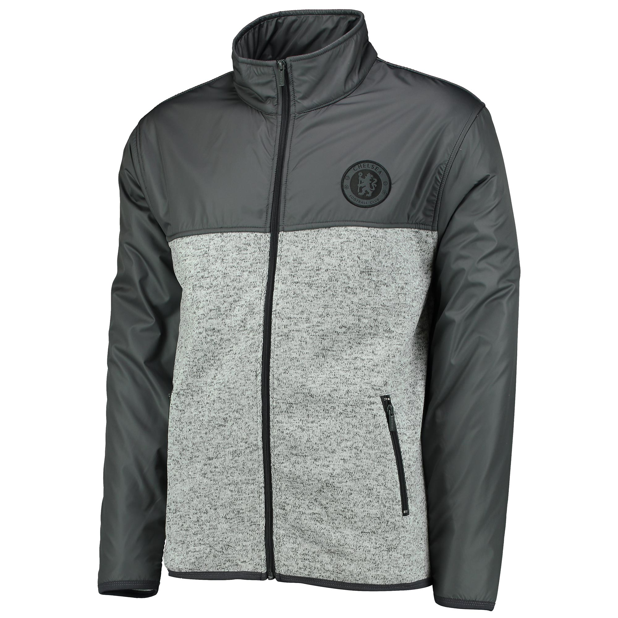 Chelsea Essential Zip Through Fleece - Dark Shadow/Grey Speckle Marl