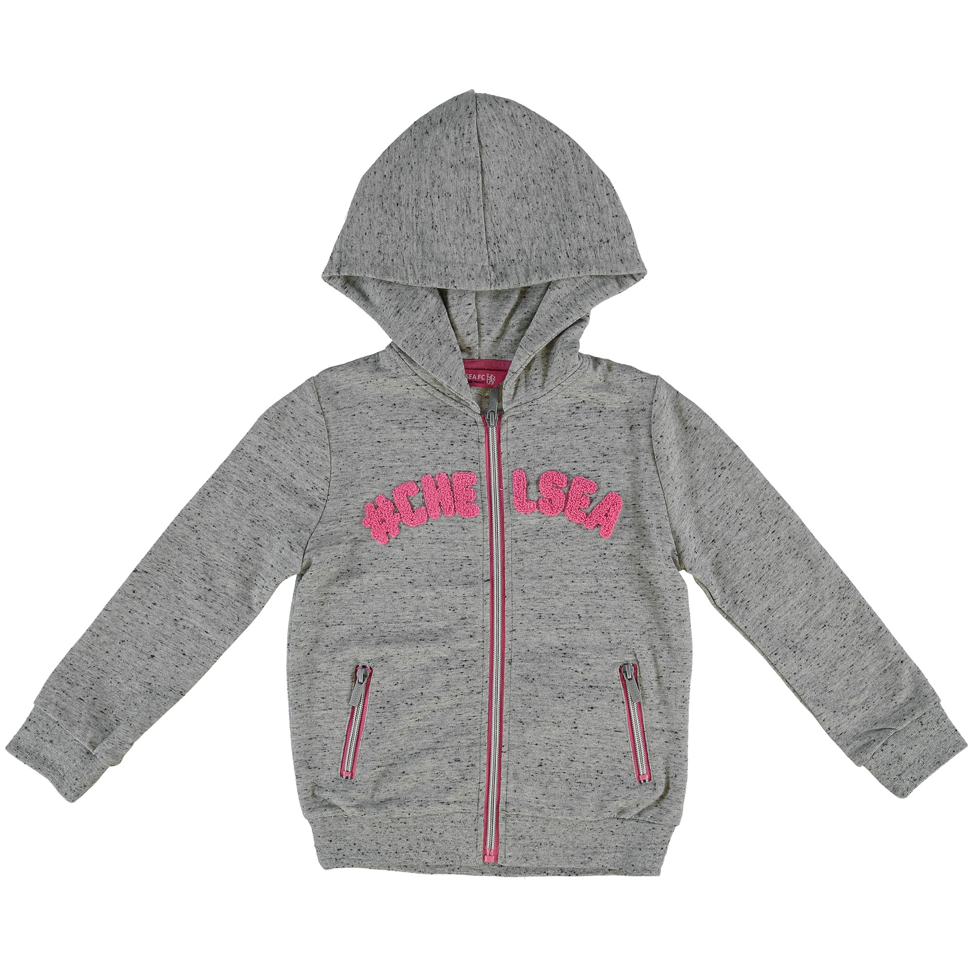 Chelsea Hashtag Zip Through Hoodie - Grey Speckle Marl - Girls
