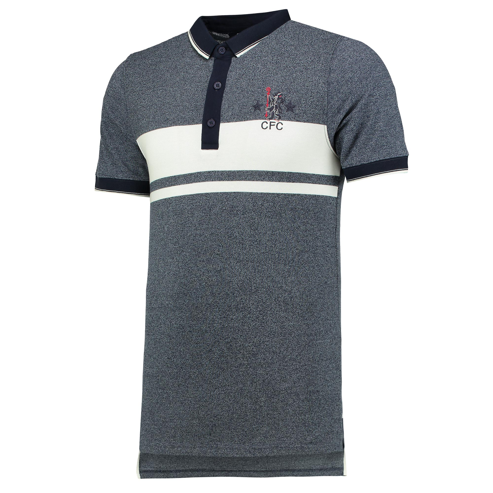 Chelsea Retro Tipped Polo Shirt - Denim Marl - Mens