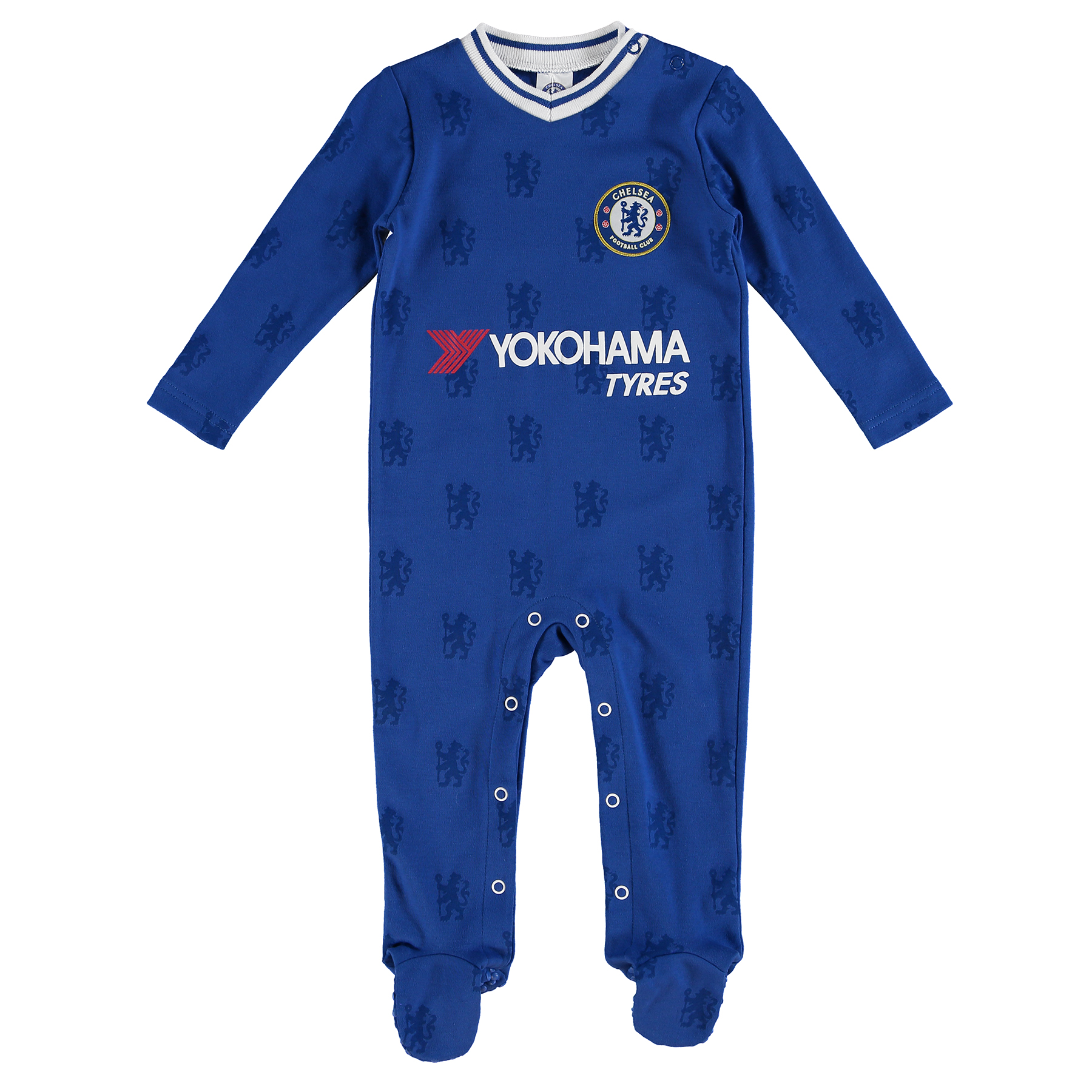 Chelsea Kit Sleepsuit - Royal - Baby   Your baby can be a blue from birth with this Chelsea kit sleepsuit which features a woven club crest badge for pride.   Built with popper fastenings, this 100% cotton sleepsuit is comfortable and practical so you can dress your little one with pride over and over!   Details: Woven club crest badge printed official sponsor contrast neckline popper fastenings all over printed lion logo 100% Cotton
