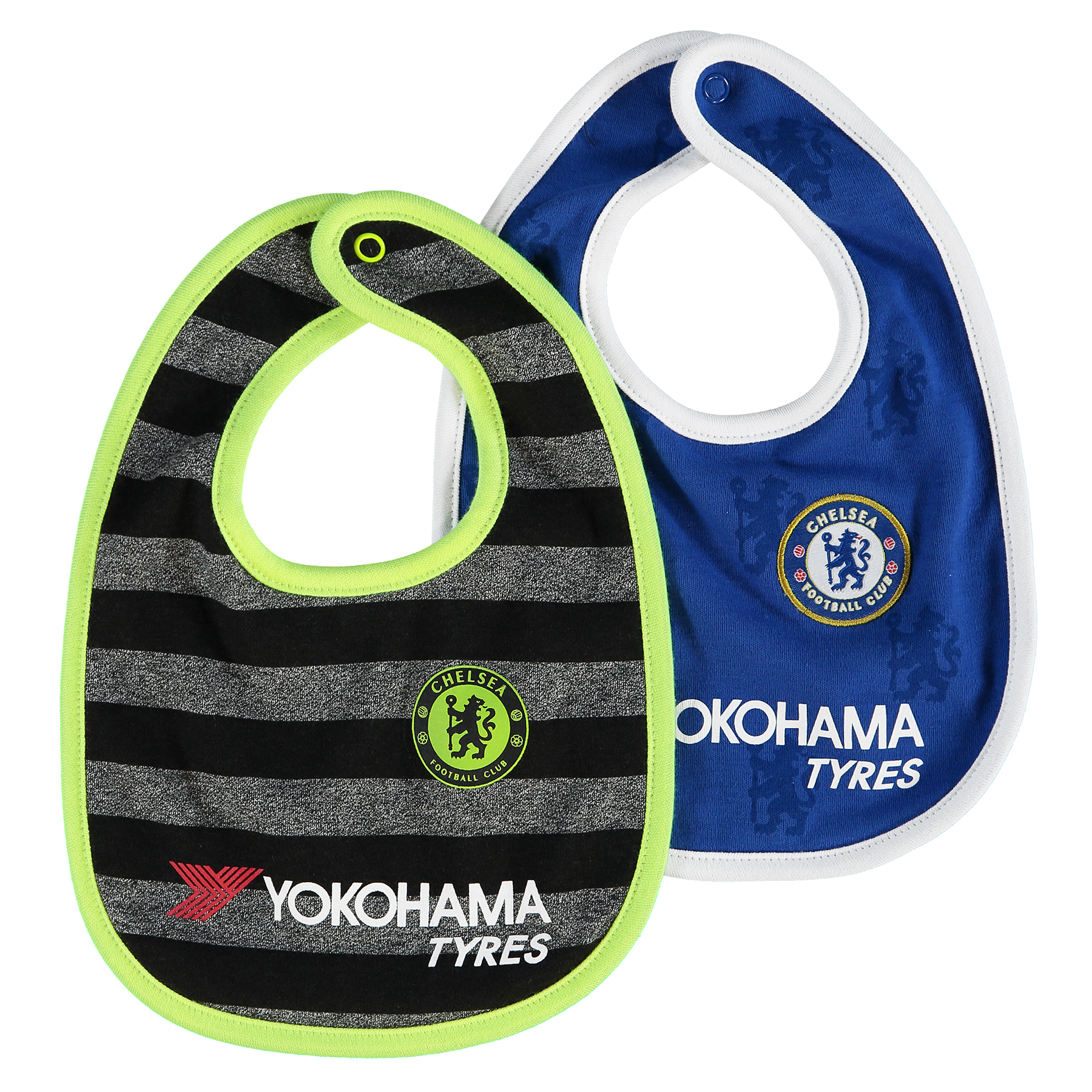 Chelsea Kit 2 PK Bibs - Royal/Black – Baby Your baby can be a blue from birth these Chelsea bibs which feature the printed club crest for pride.   With popper fastenings, these cotton bibs are practical and comfortable, so you can pop them on wherever you are for a flash of Chelsea pride. Details: Printed club crests popper fastenings contrast trims 100% Cotton