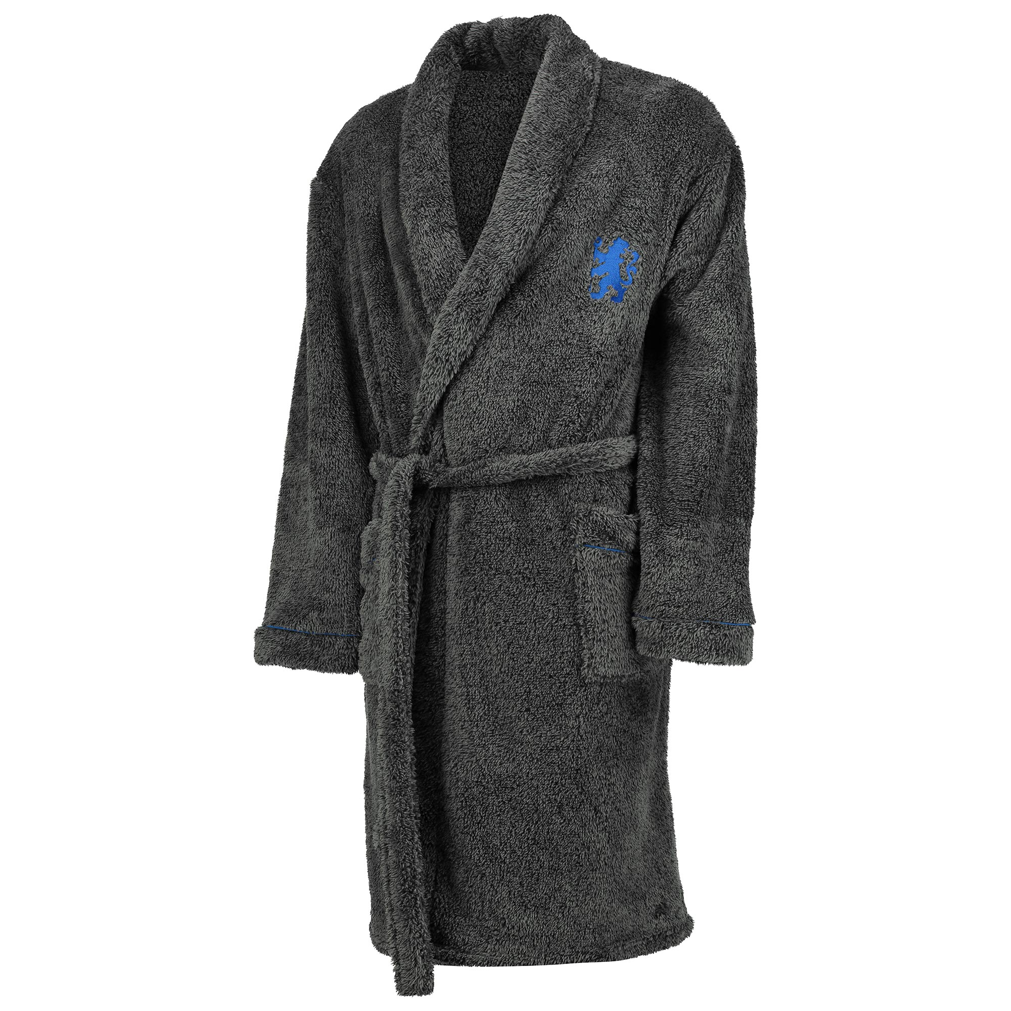Chelsea Lion Logo Supersoft Robe - Dark Grey - Mens