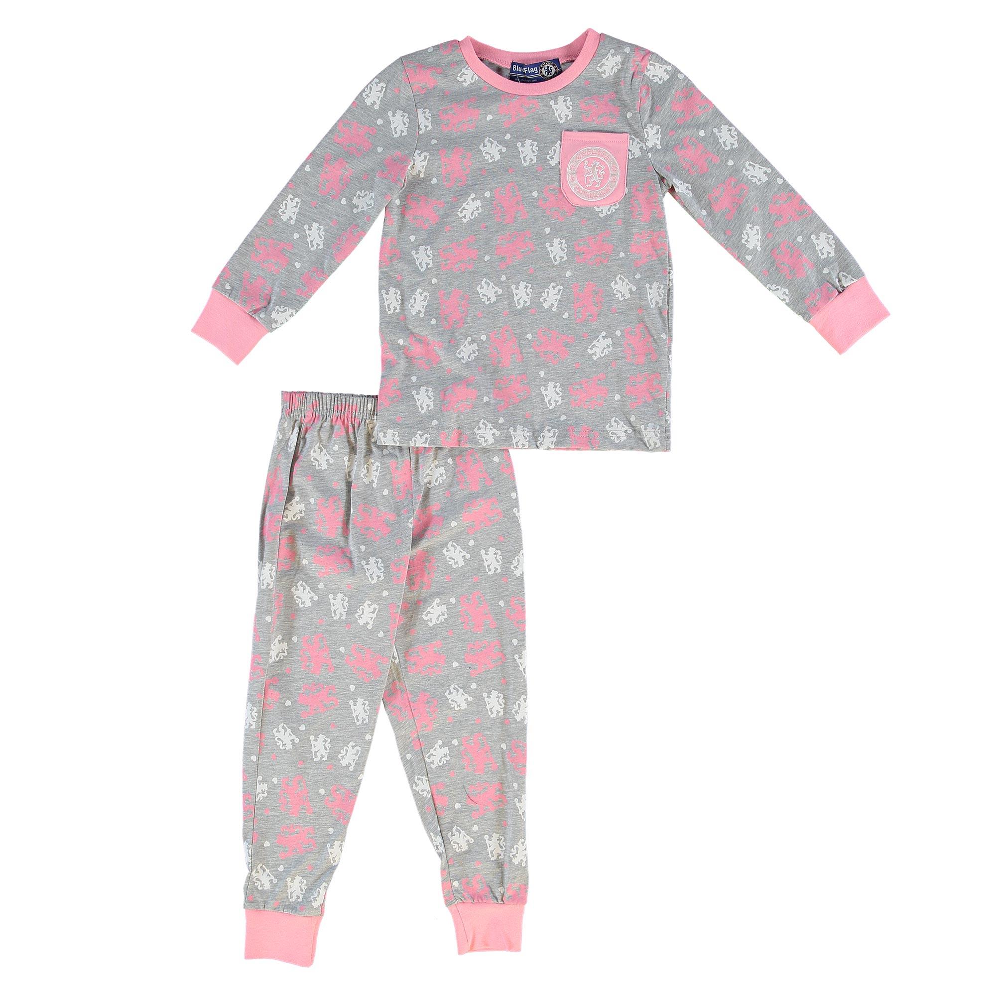 Chelsea Lion Logo Snuggle Fit Pyjamas - Grey Marl/Pale Pink - Infant G