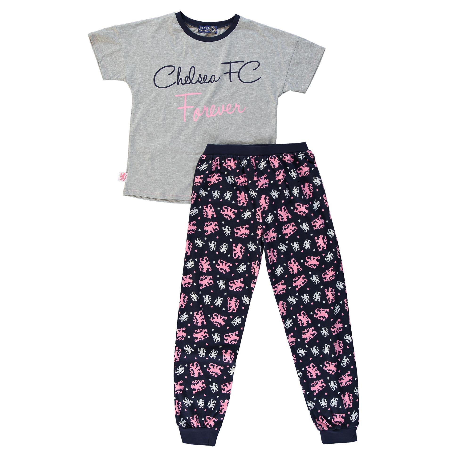 Chelsea FC Forever Pyjamas - Grey Marl/Navy - Older Girls