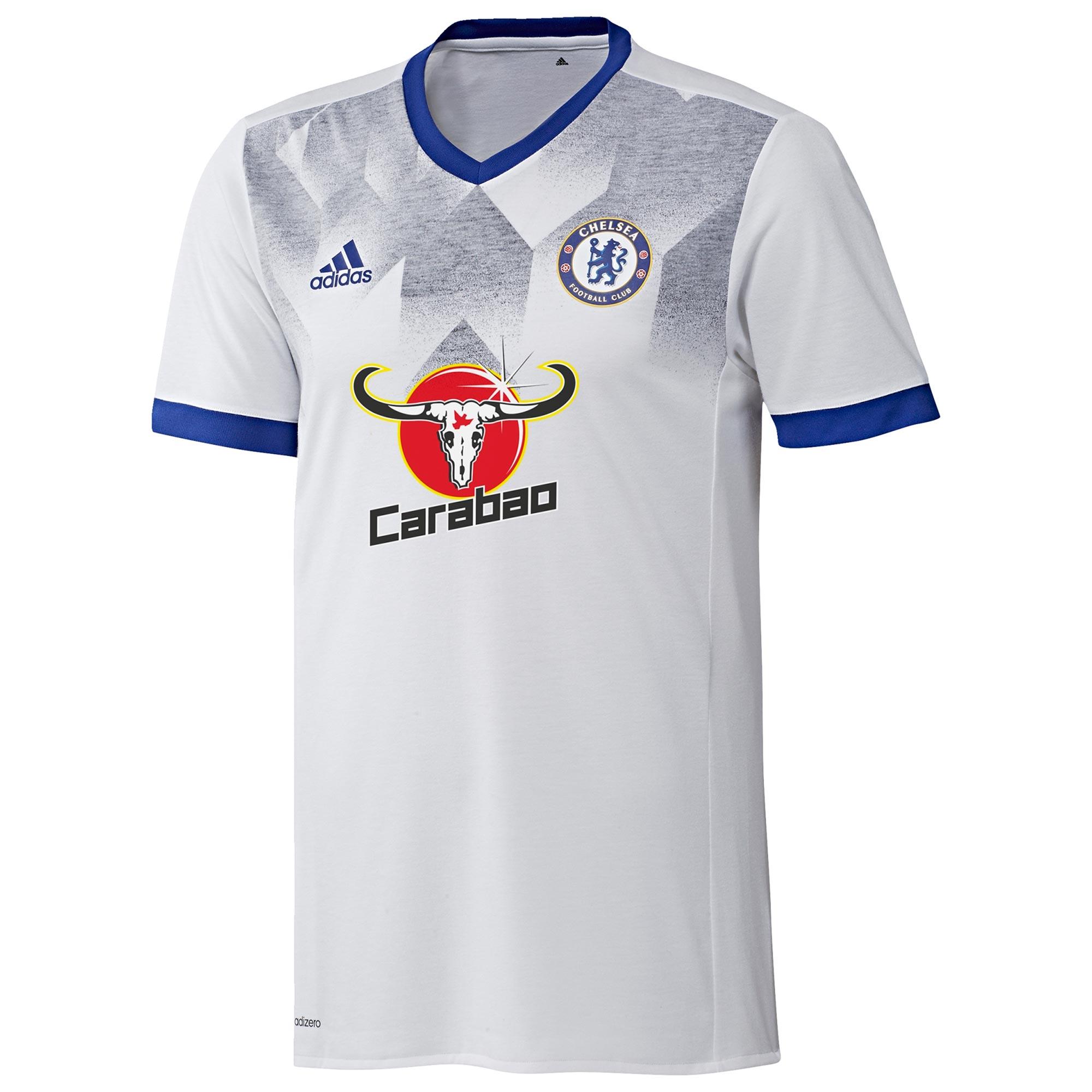 Chelsea Pre-Match Shirt - White - Blue   With gritty defence and lightning attacks, Chelsea FC continue to build a winning legacy. Now, fans can put their unwavering love for the Blues on proud display in this Chelsea Pre-Match Shirt.   Made of recycled fabric with a printed pattern, this lightweight jersey has a slim fit, its chest finished with a woven crest that reminds the world there's no better place to be than Stamford Bridge. Details: • • Patterned fabric • Slim fit with crewneck • Functional and lightweight adizero • Woven Chelsea crest on left chest • 100% recycled polyester interlock • Embroidered adidas logo