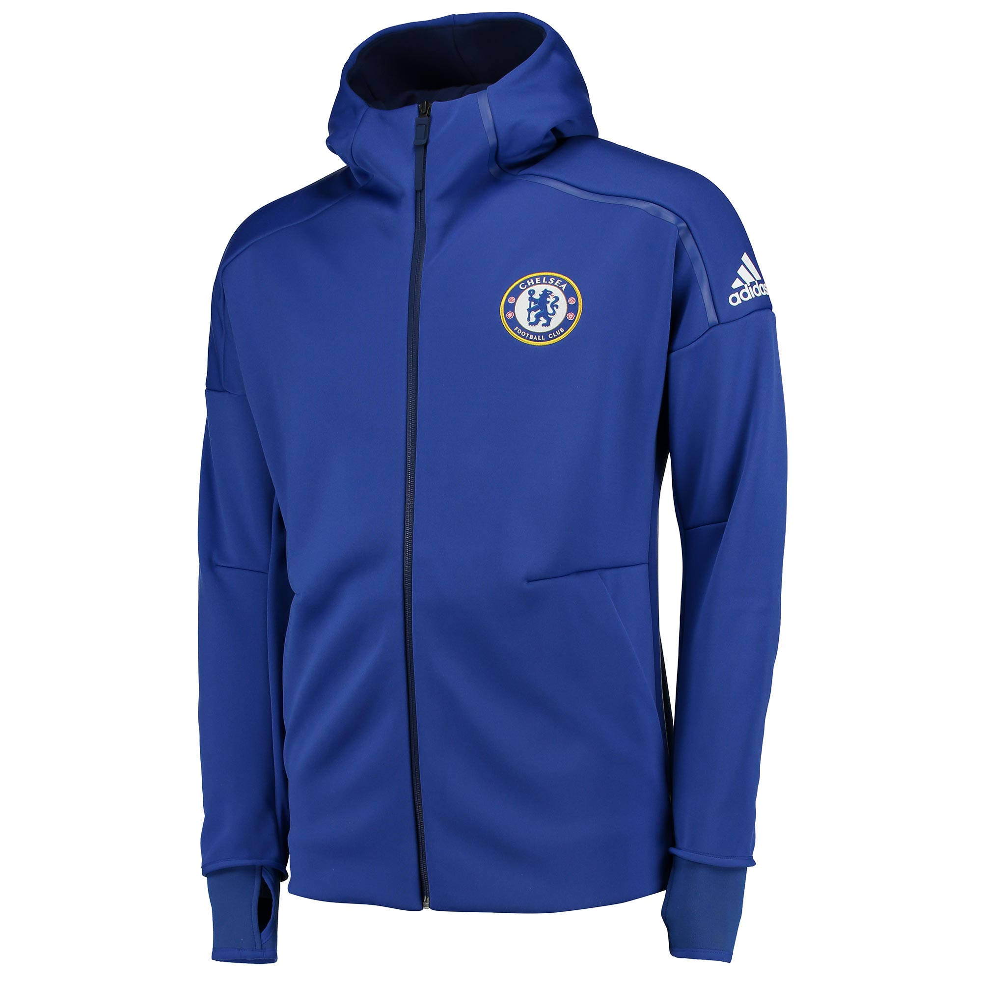 Chelsea Anthem Jacket - Blue   Represent your club with pride in this official Chelsea Anthem Jacket - Blue.   Designed for match days, this Chelsea FC anthem jacket replicates the professional, pre-match image displayed by the players themselves.   Details:    • Slim fit • Droptail hem • Full zip with hood • Thumb holes on cuffs • Front zip kangaroo pockets • Chelsea FC club crest screen-printed on left chest • adidas brandmark screen-printed on the left sleeve • 100% polyester