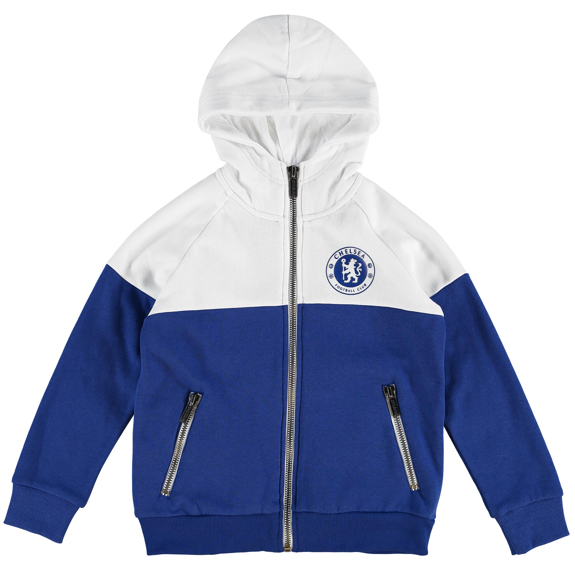Chelsea Essential Full Zip Hoodie - Royal/White - Older Boys   Whether you're cheering on The Blues at Stamford Bridge or watching the game at home, this Chelsea Essential Full Zip Hoodie is the ideal thing to wear!   Featuring a raised rubber crest this full zip hoodie shows off your pride and will keep you warm as you watch the match.   Details: • Zip through hoody • Fabrication: 65% poly 35% cotton B/Back fleece 280gms • Application: Raised rubber crest, branded zip pulls x 3 • Metal zip with white zip tape
