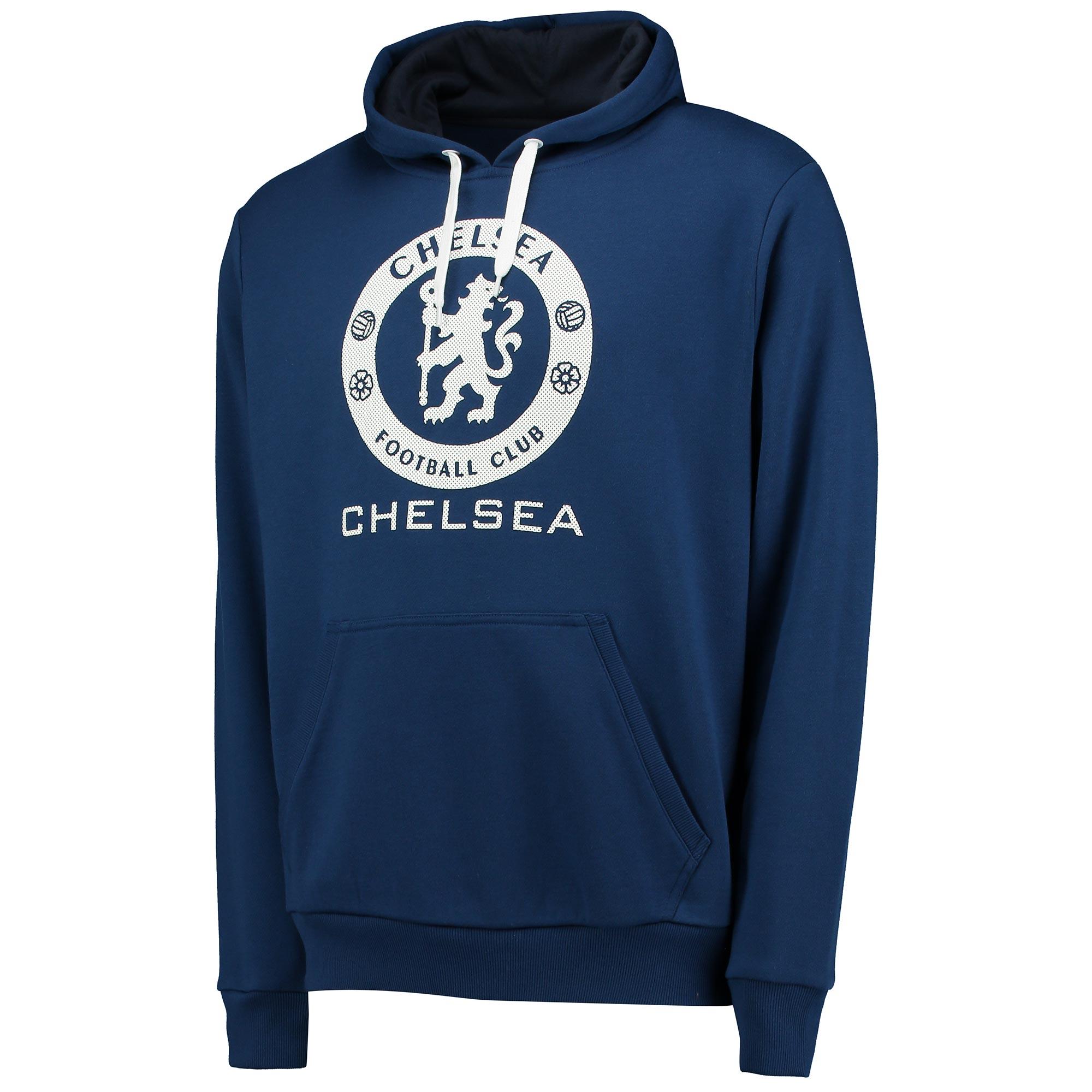 Chelsea Essential Perforated Print Hoodie - Estate Blue - Mens