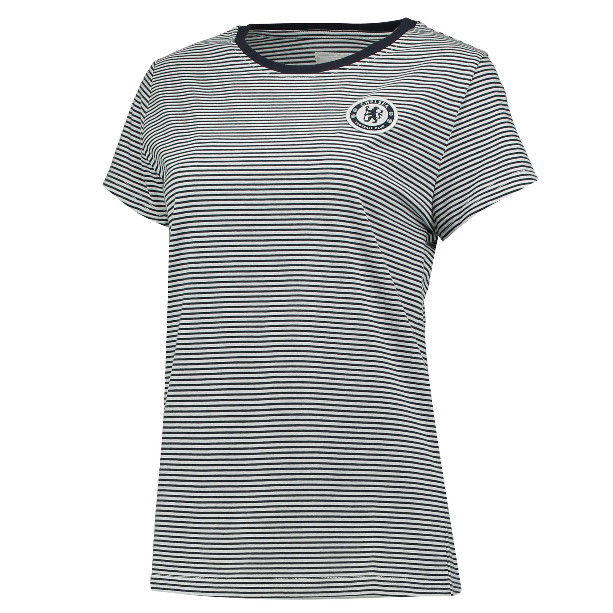 Chelsea Stripe T-Shirt - Navy – Women's   This stylish Chelsea Stripe T-Shirt is the ideal choice for fans of The Blues who want to cheer on their team whilst looking stylish and feminine.   With a woven crest badge and striped design, this tee is perfect whether you're watching the game from home or cheering on the boys at Stamford Bridge.   Details: • Fabrication: 65% polyester 35% cotton • S/Jersey 180gm (silicon wash) • Application: Woven Crest Badge