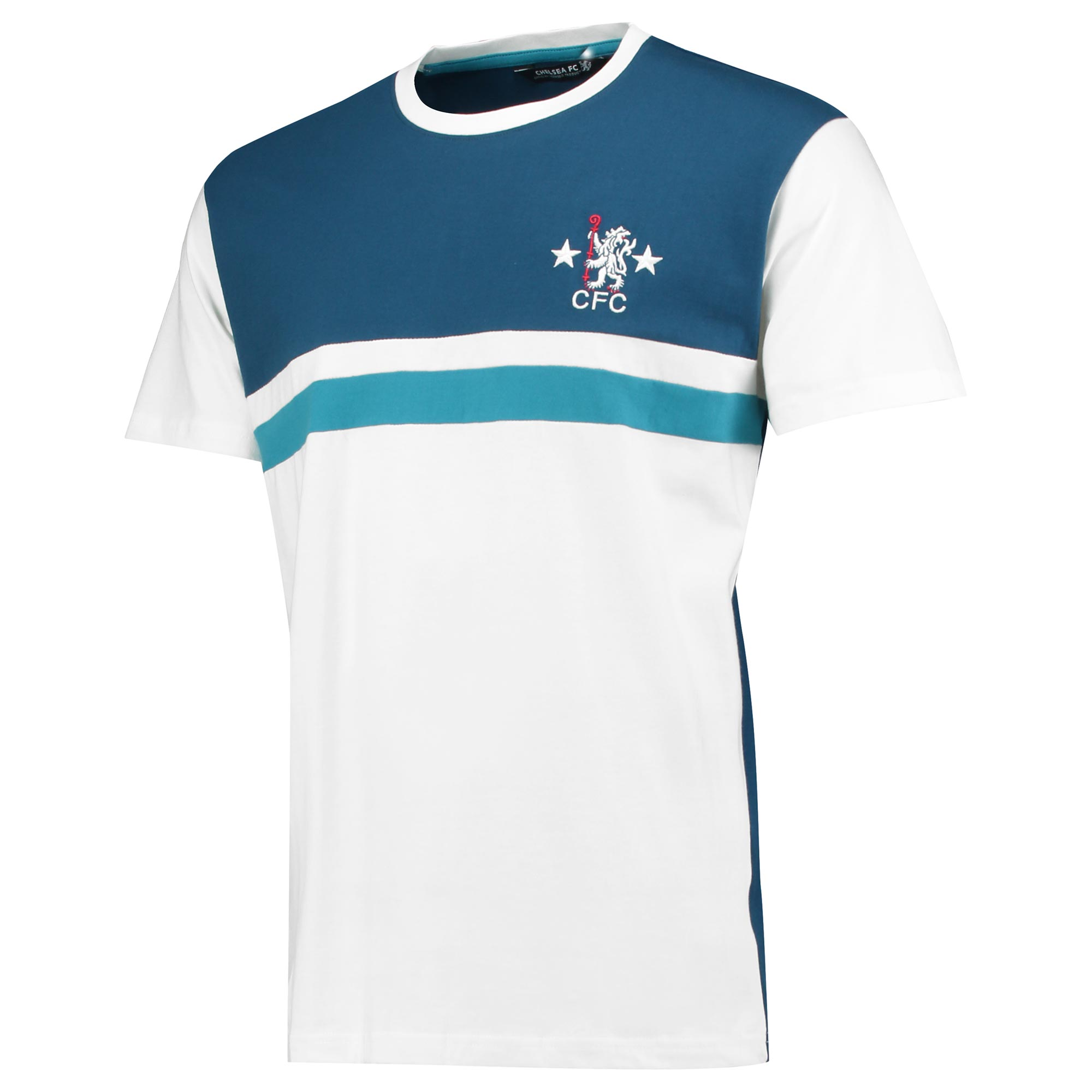 Chelsea Retro Cut & Sew T-Shirt - White – Men's   Put your love of the Blues on full display in this official Chelsea Retro Cut & Sew T-Shirt.   Featuring embroidery application on the chest, this raglan tee is the ideal choice for a fan.   Details: • 100% cotton S/Jersey 180gms  • Embroidery application