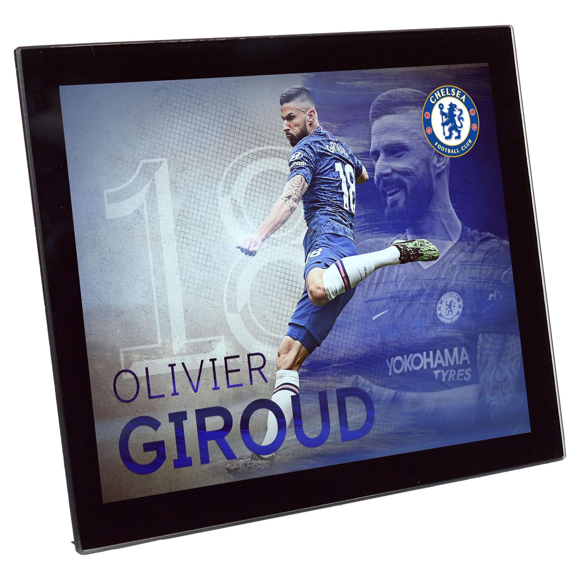 Imagen de Olivier Giroud del Chelsea con marco de vidrio en 20,3x15,2 (8x6)