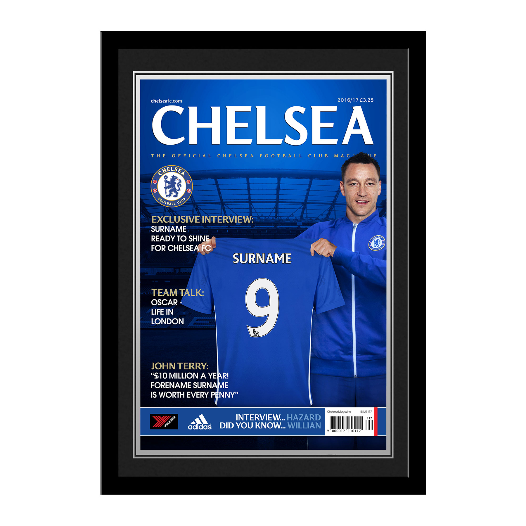Chelsea Personalised Magazine Cover - Framed