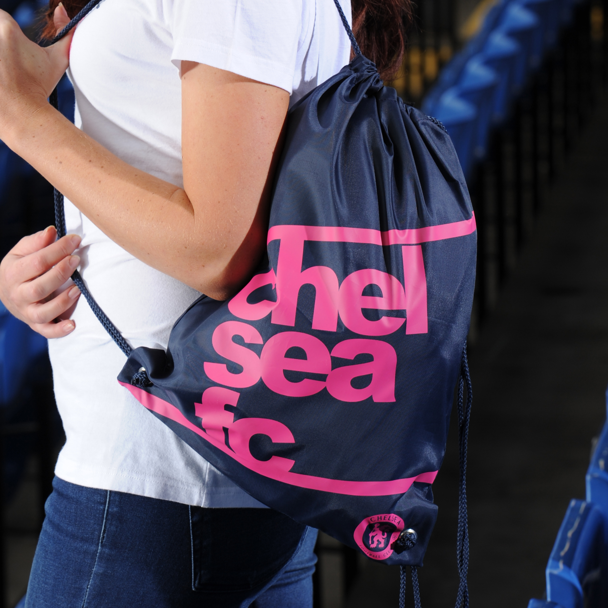 Chelsea Ladies Gymsack - Navy/Hot Pink