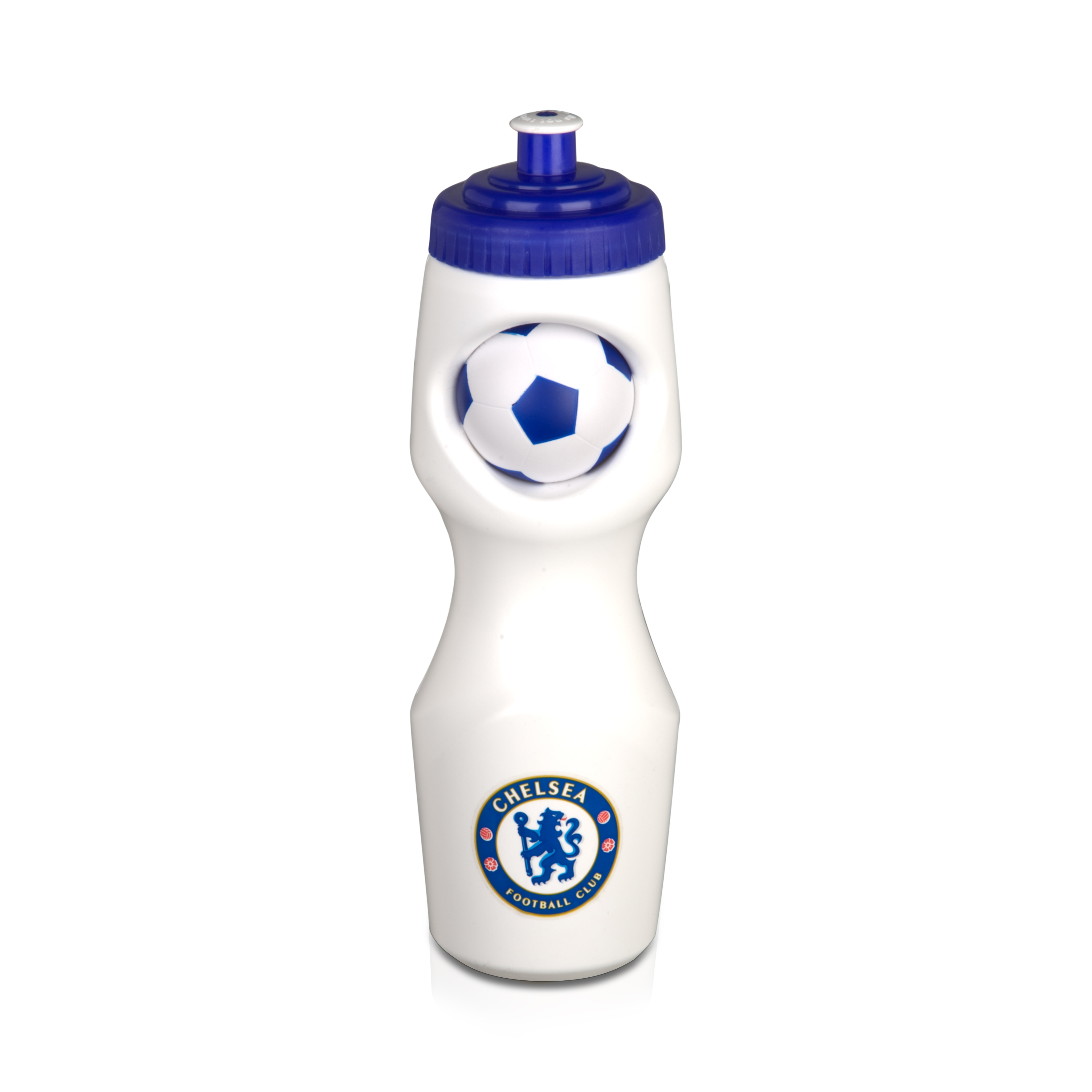 Chelsea 650ml Water Bottle with Foam Ball - White/Royal