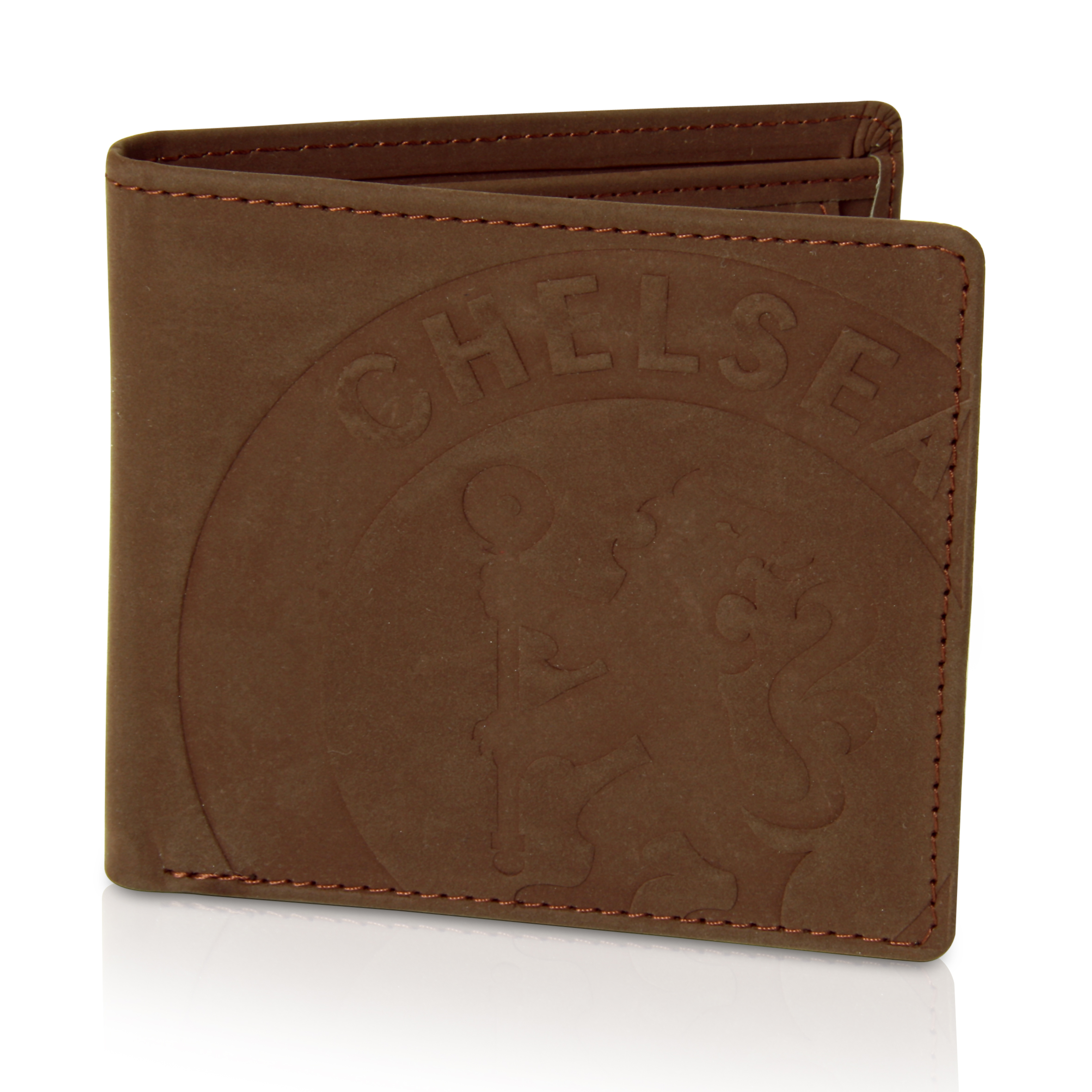 Chelsea Faux Suede Crested Wallet - Brown
