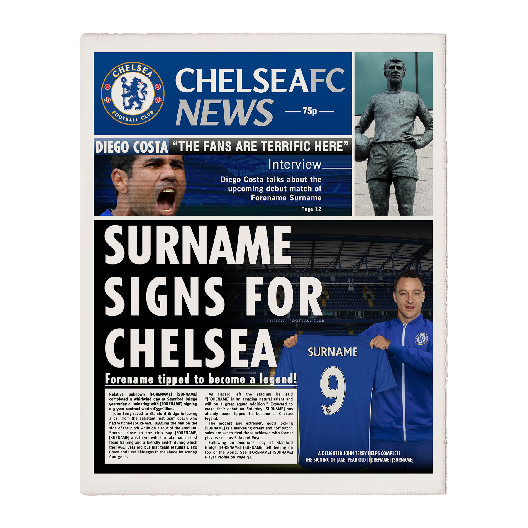 Chelsea Personalised Newspaper Single Page