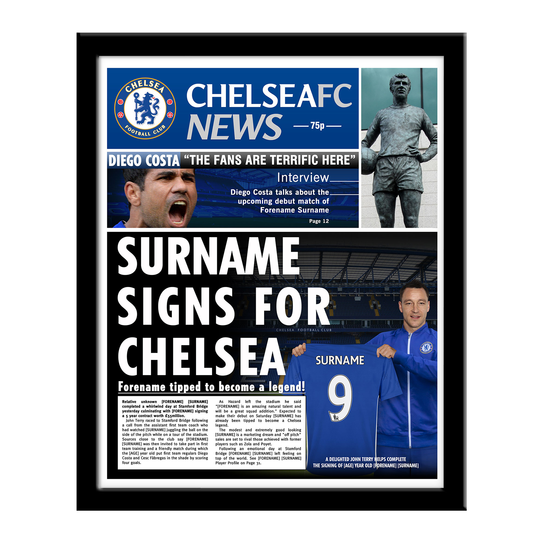 Chelsea Personalised Football Newspaper - Framed