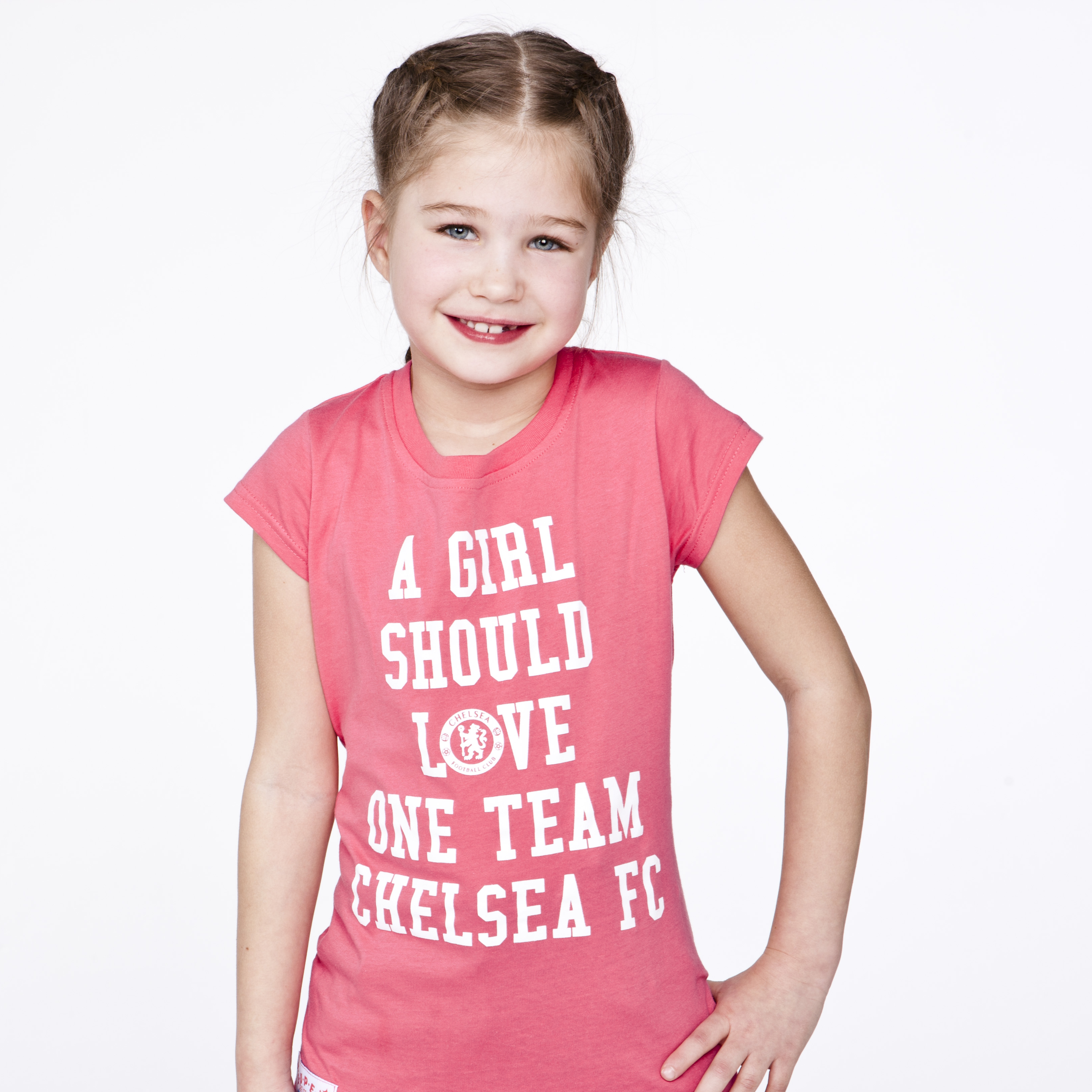 Chelsea Love One Team Graphic T-Shirt - Blush Pink - Girls