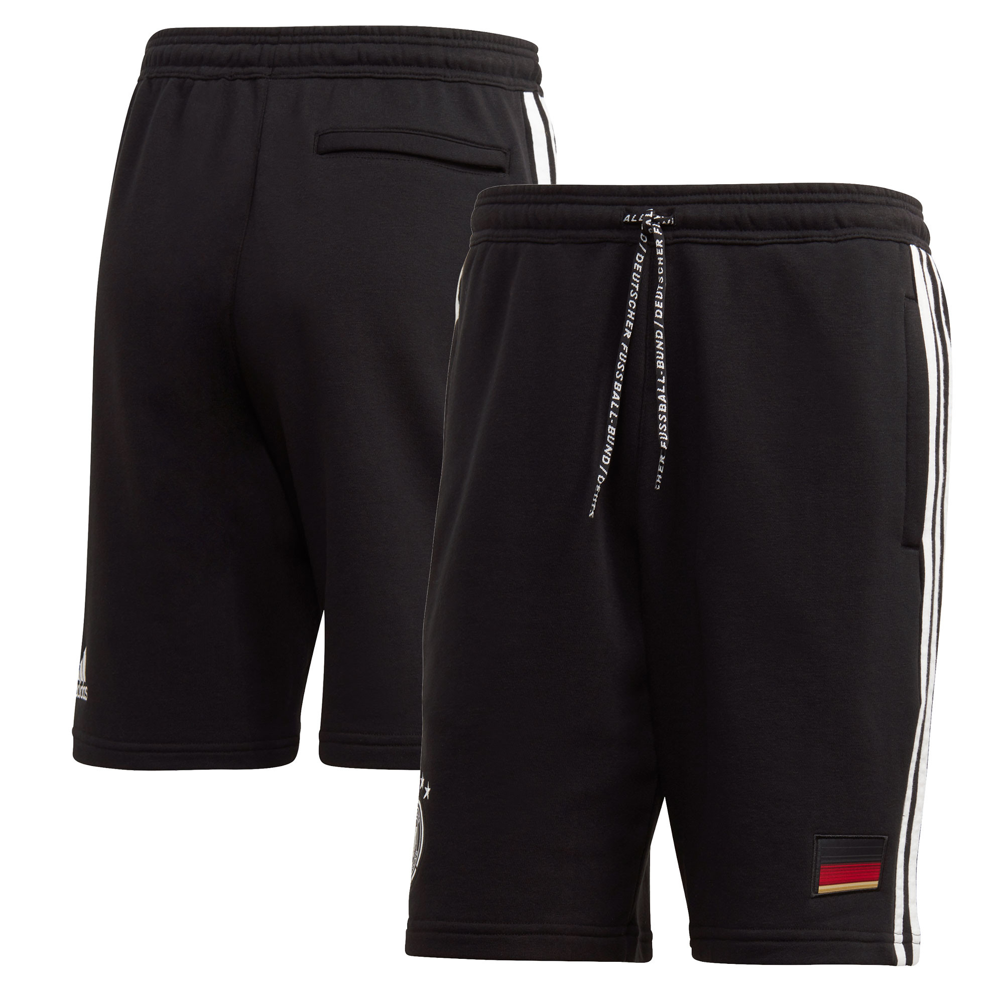 Germany 3 Stripe Sweat Shorts - Black