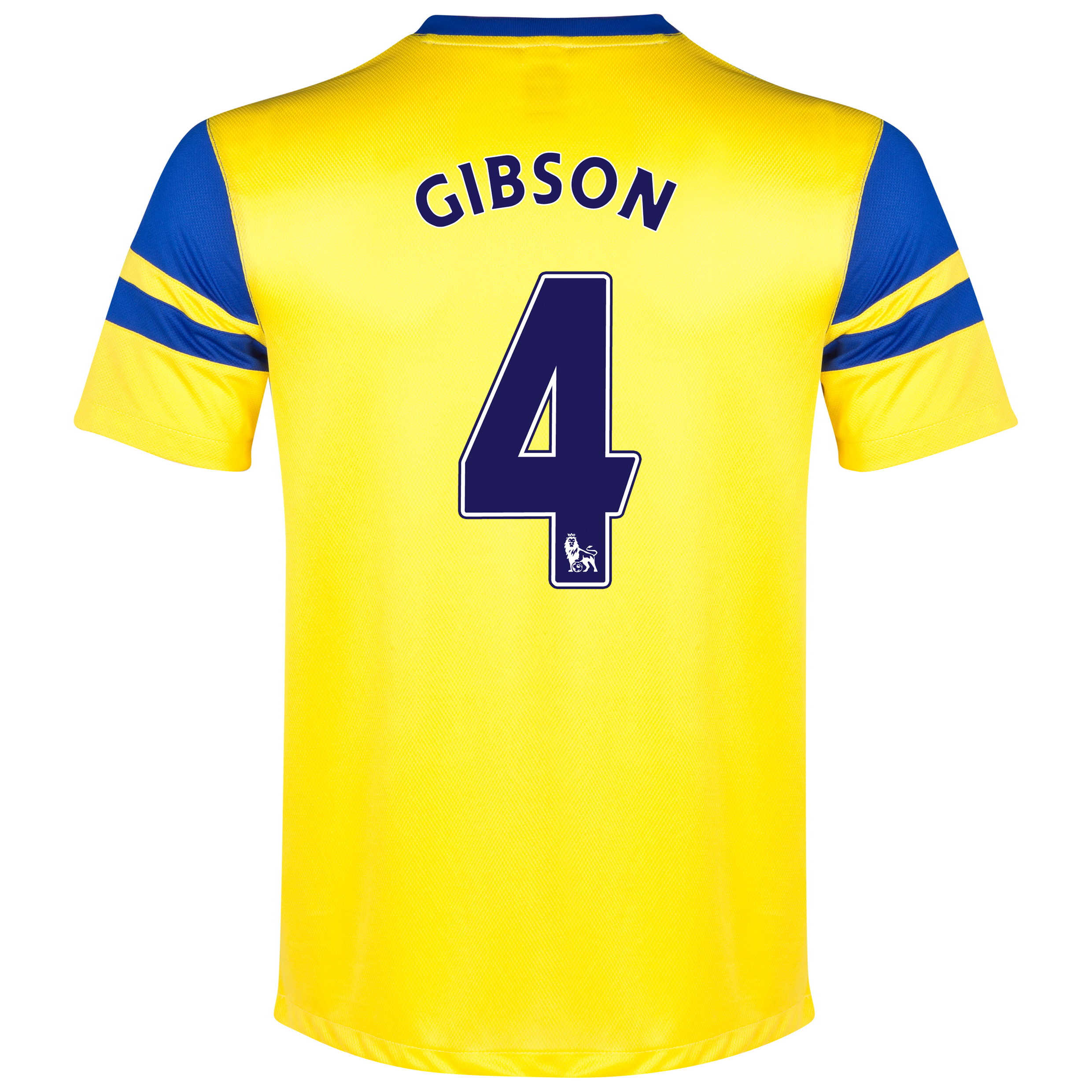 Everton Away Shirt 2013/14 Yellow with Gibson 4 printing