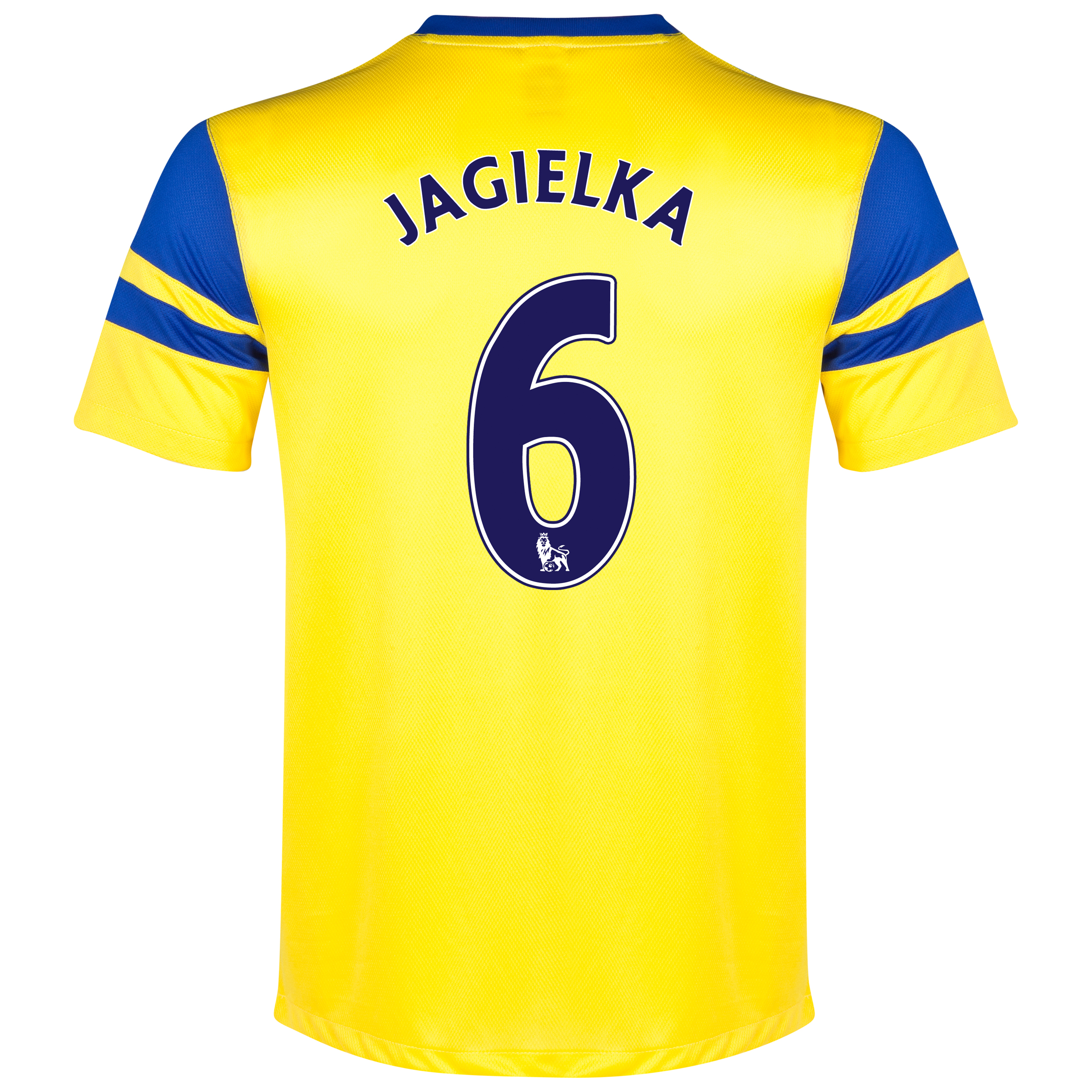 Everton Away Shirt 2013/14 Yellow with Jagielka 6 printing