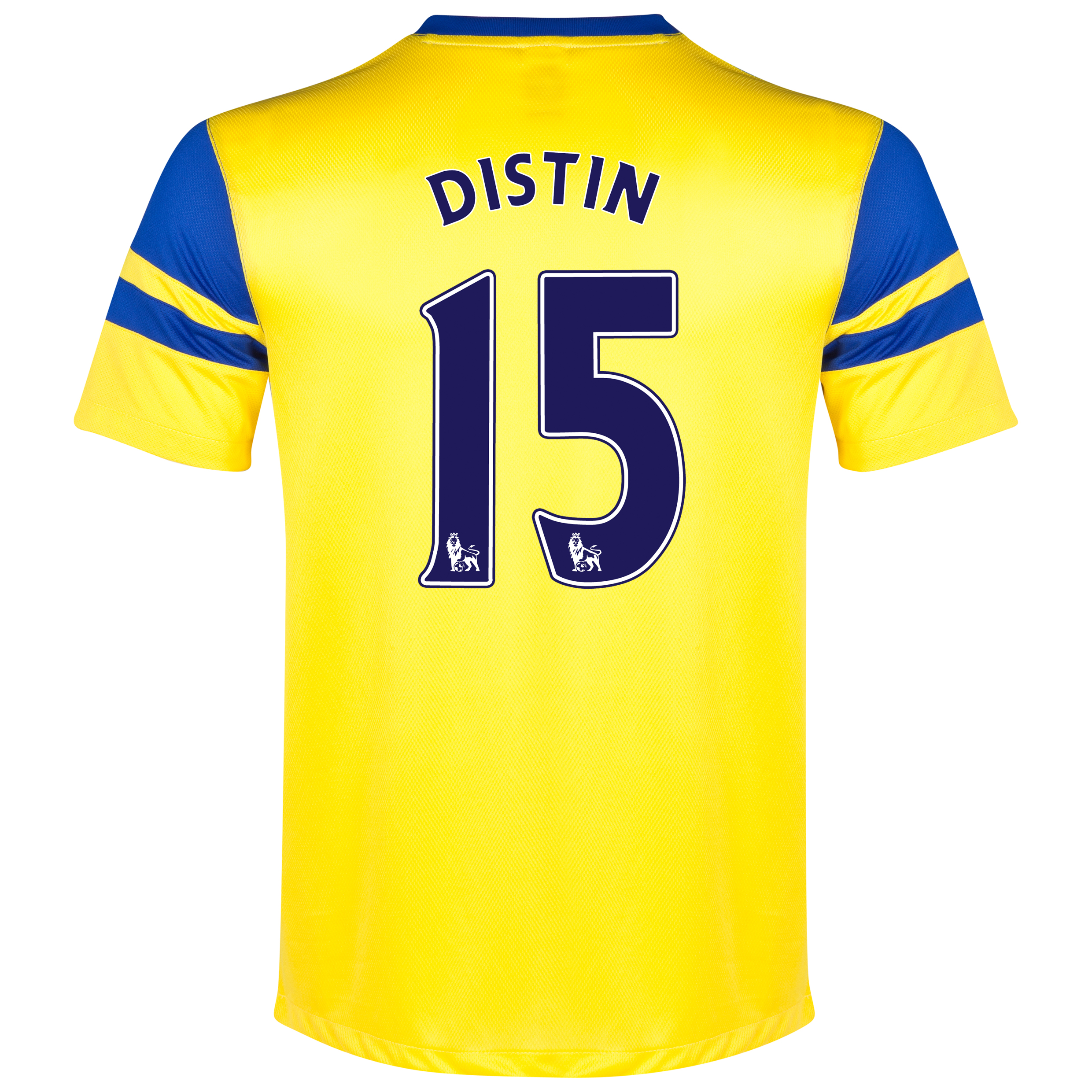 Everton Away Shirt 2013/14 Yellow with Distin 15 printing