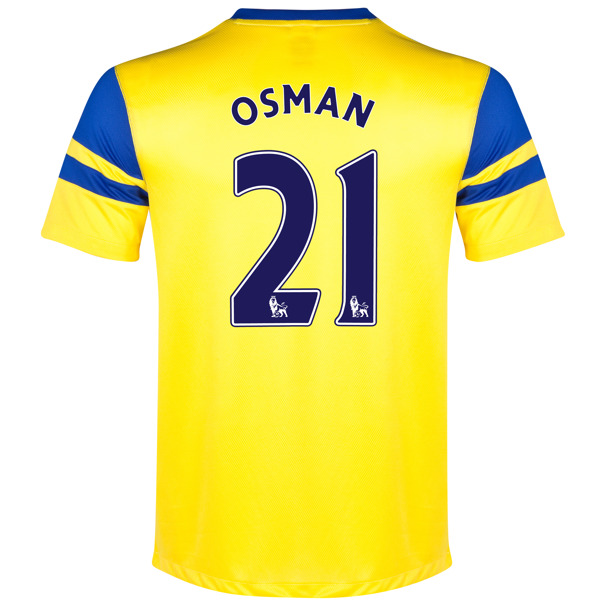 Everton Away Shirt 2013/14 Yellow with Osman 21 printing