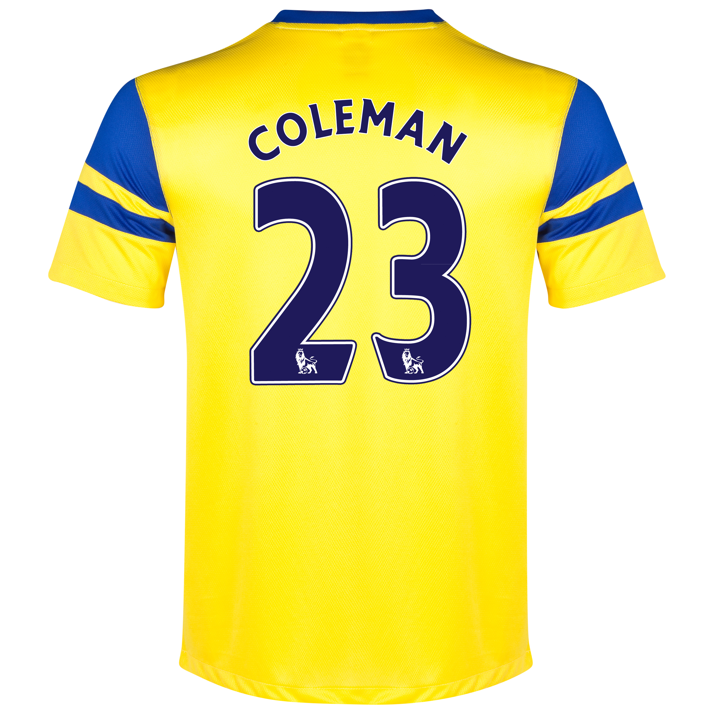 Everton Away Shirt 2013/14 Yellow with Coleman 23 printing