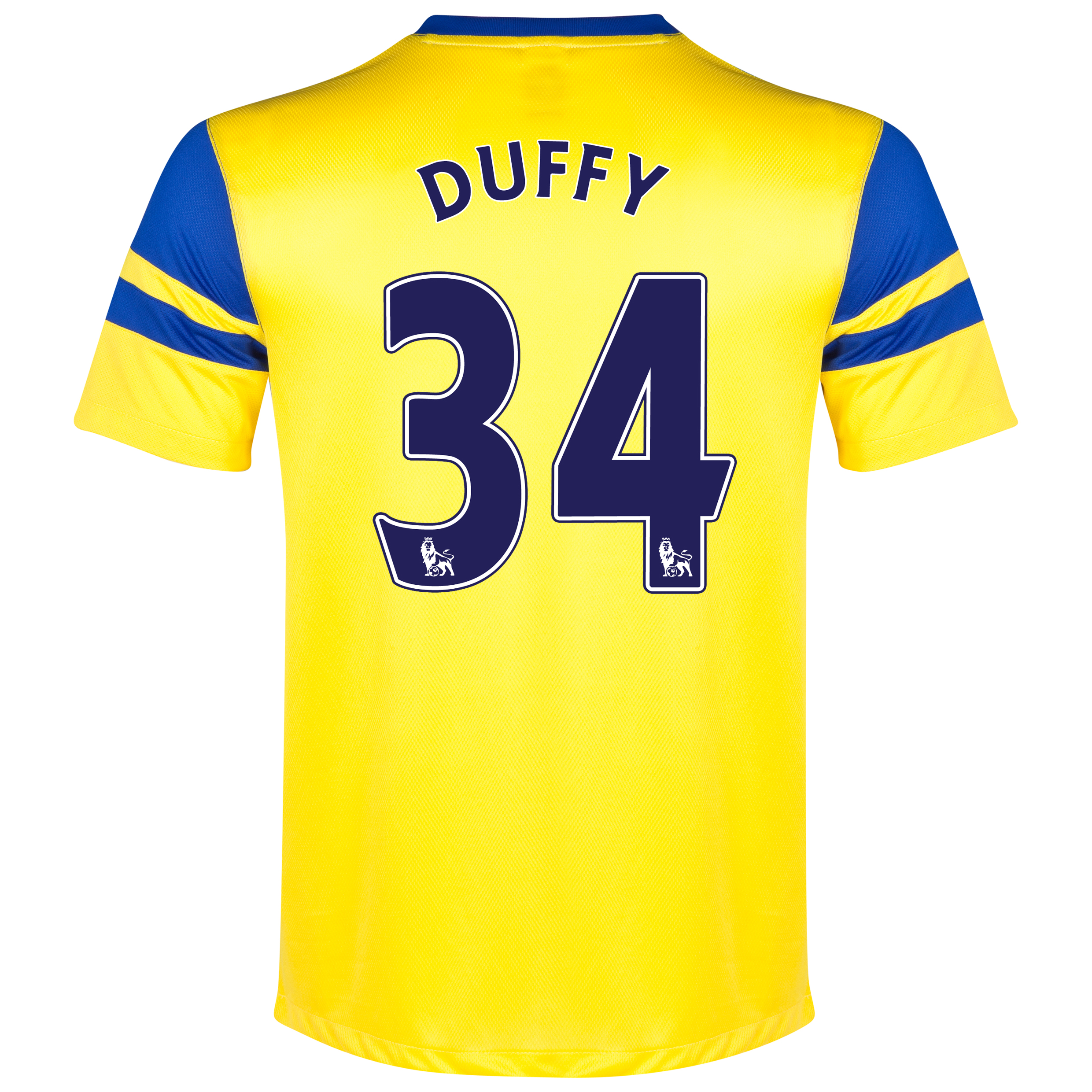 Everton Away Shirt 2013/14 - Junior Yellow with Duffy 34 printing