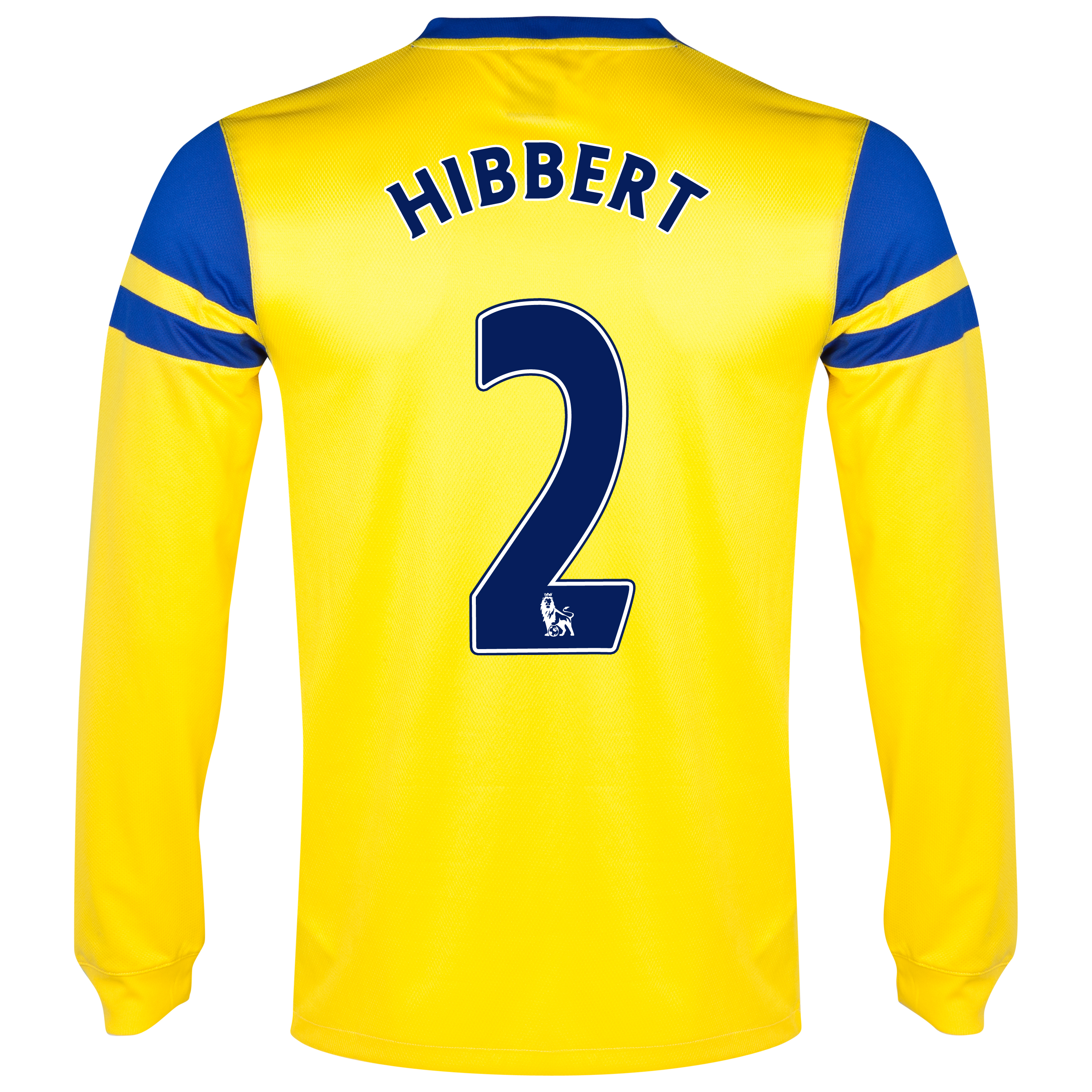 Everton Away Shirt 2013/14 - Junior - Long Sleeved Yellow with Hibbert 2 printing